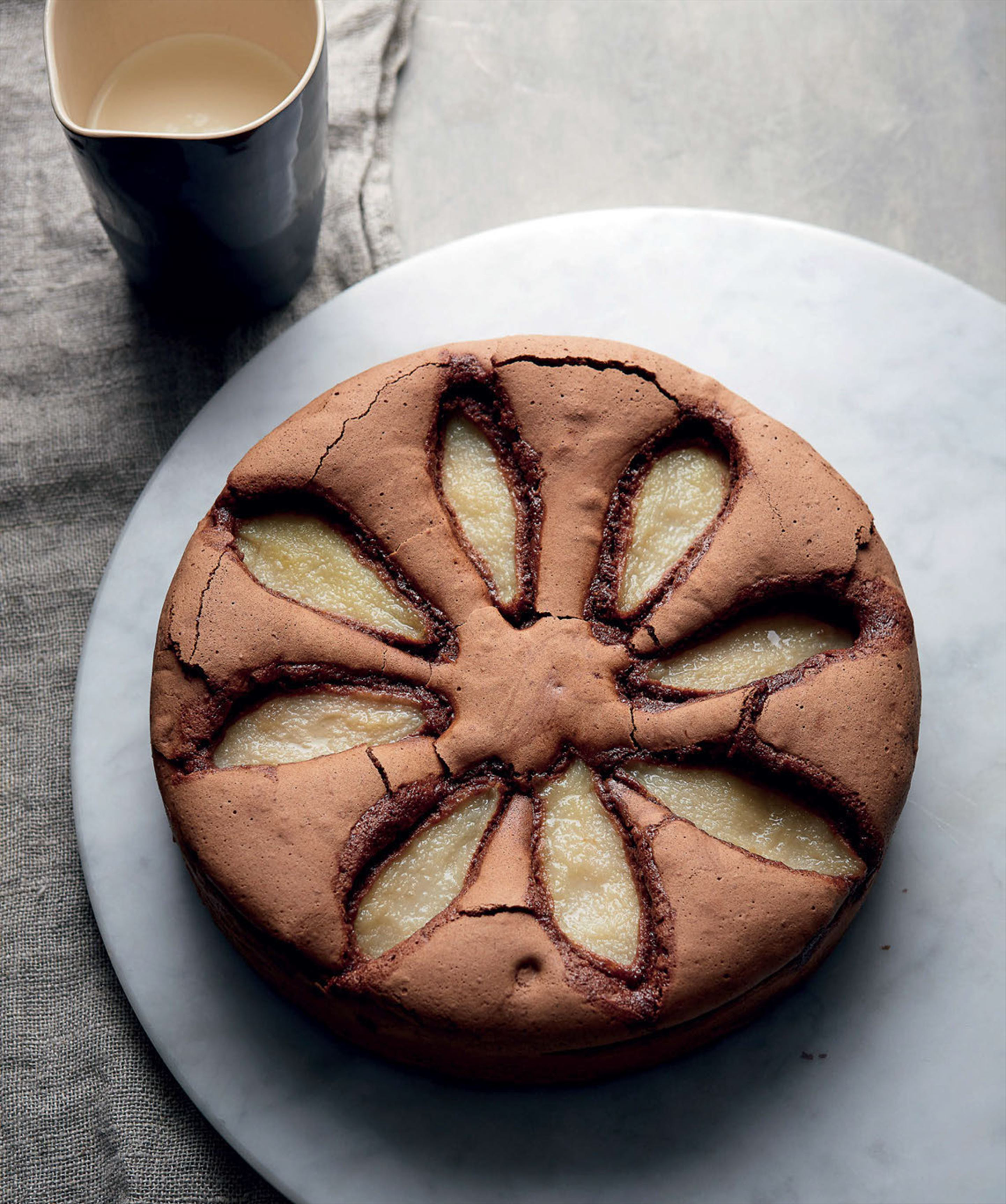 Chocolate, pear and hazelnut cake