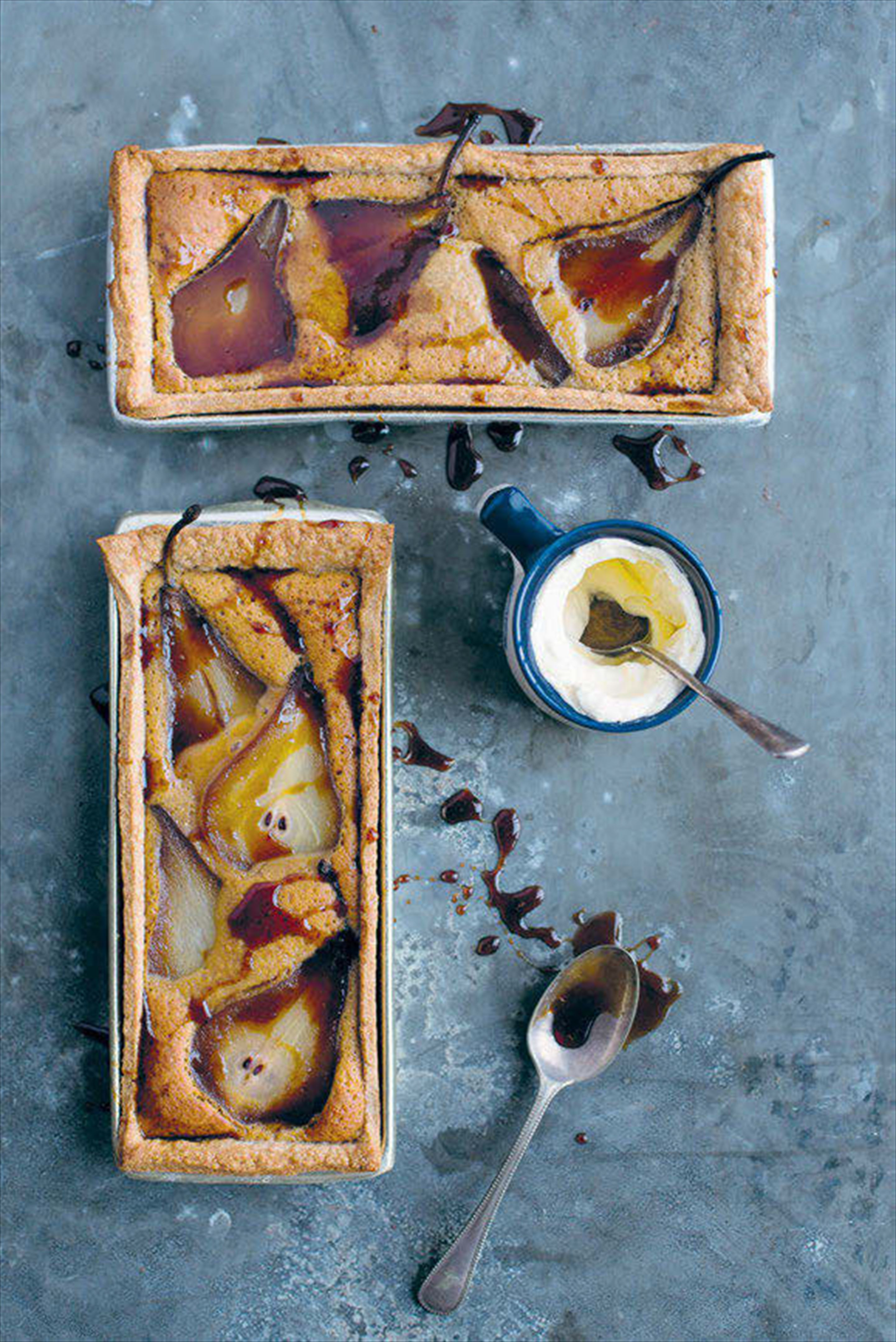 Pear, maple syrup and brown butter pies with cinnamon spelt crust