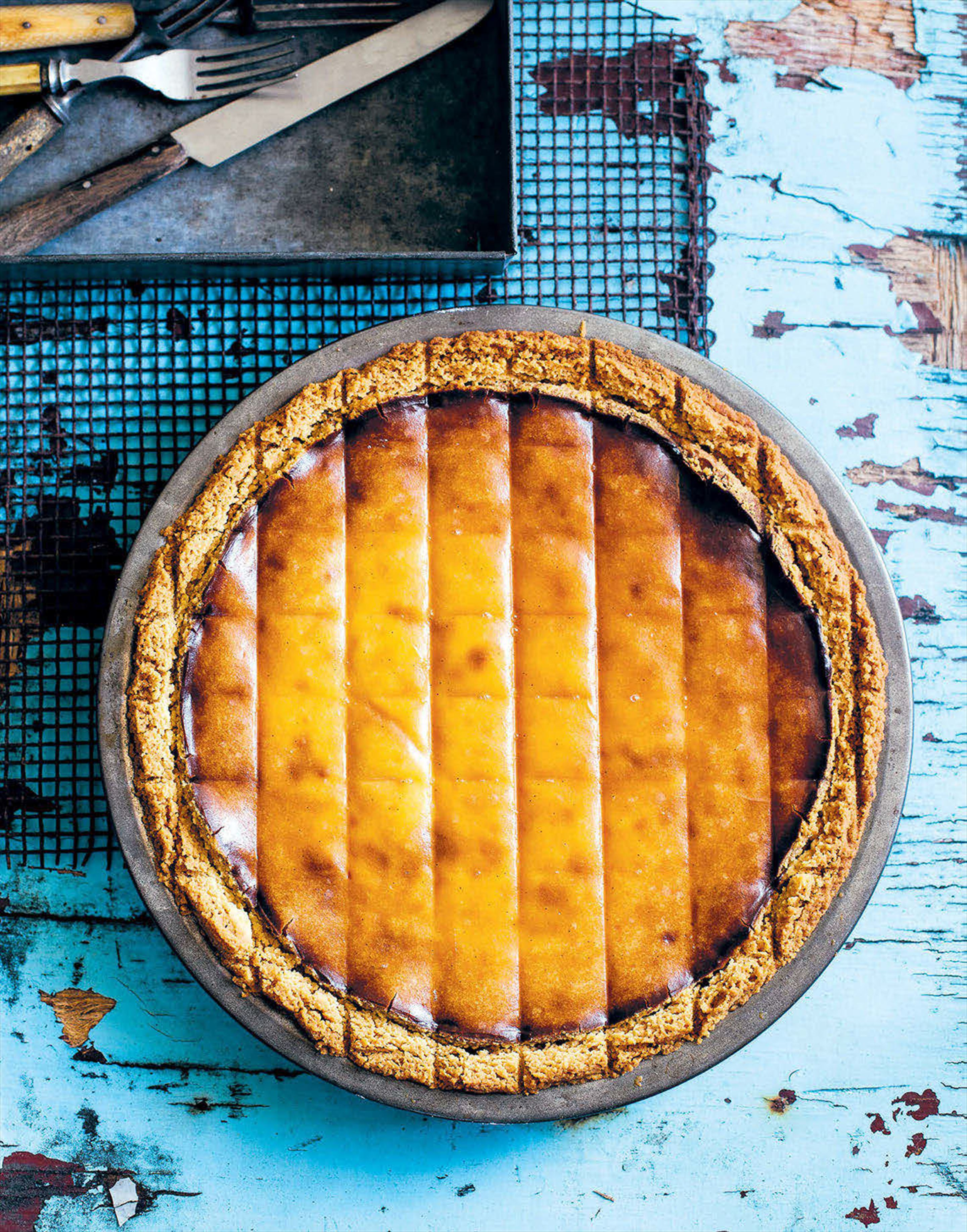 Baked ricotta, orange blossom and date pie
