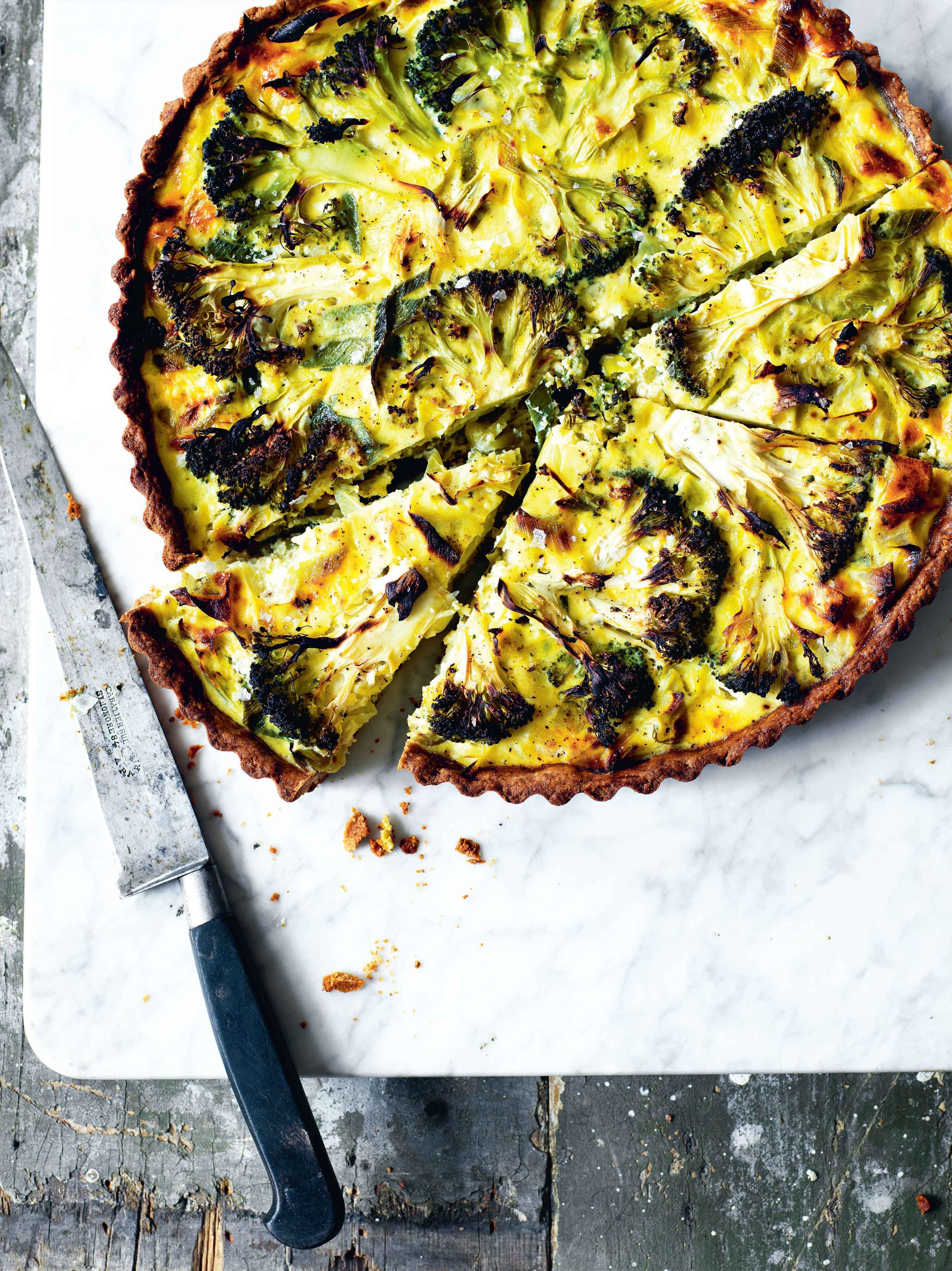 Rye crust tart with broccoli and leeks