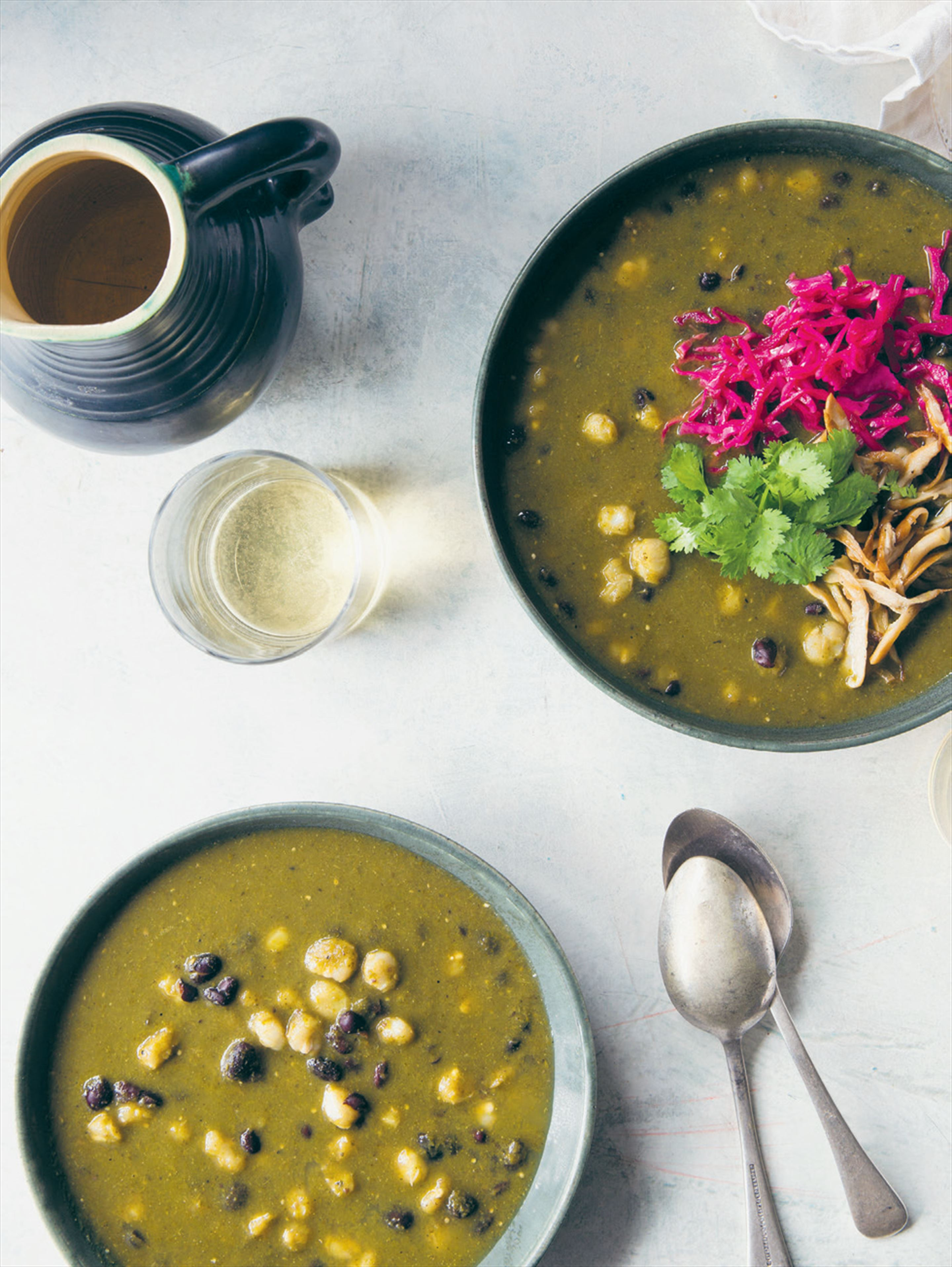 Colombian hominy & black bean soup