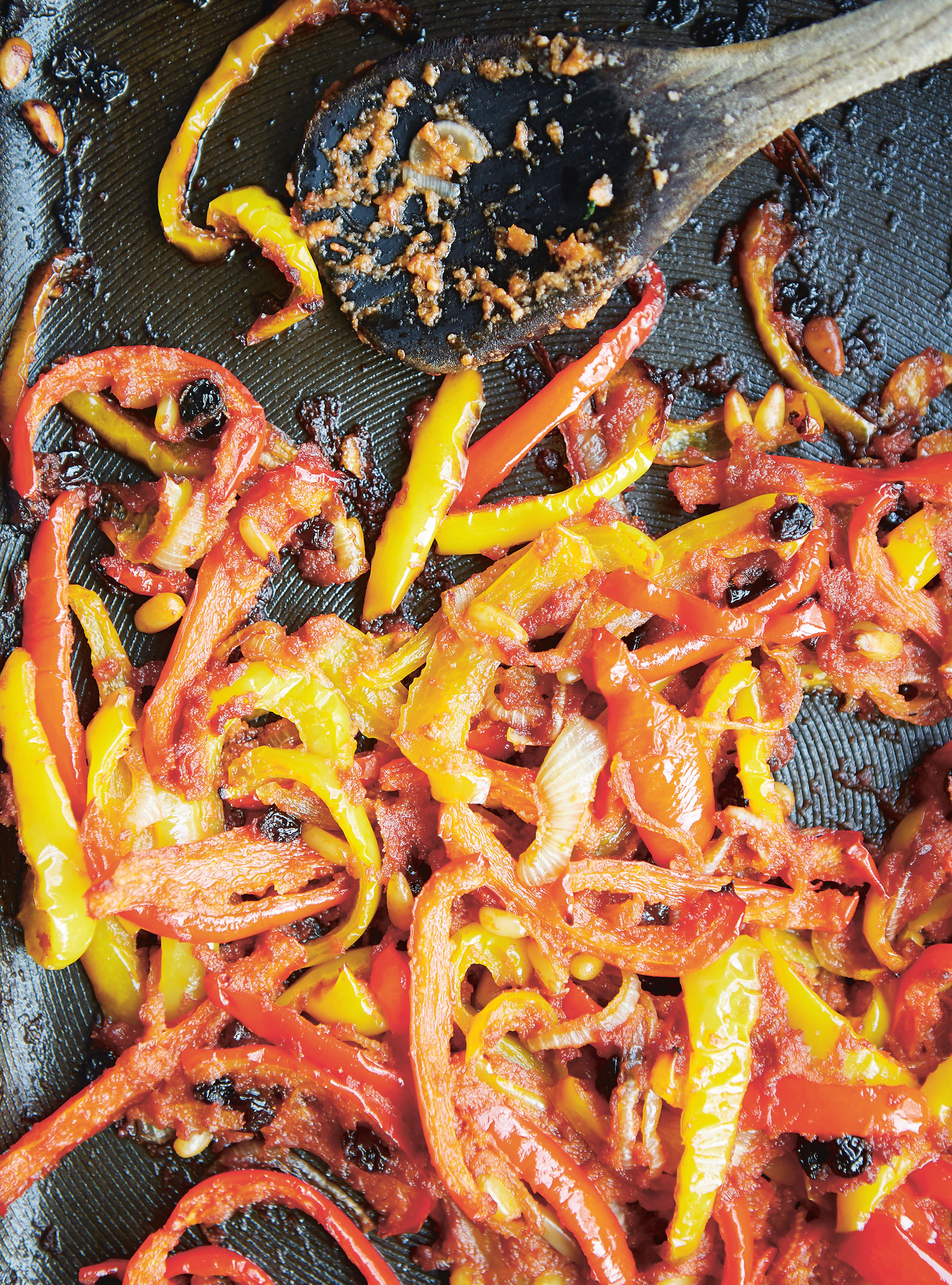 Roast peppers palermo style