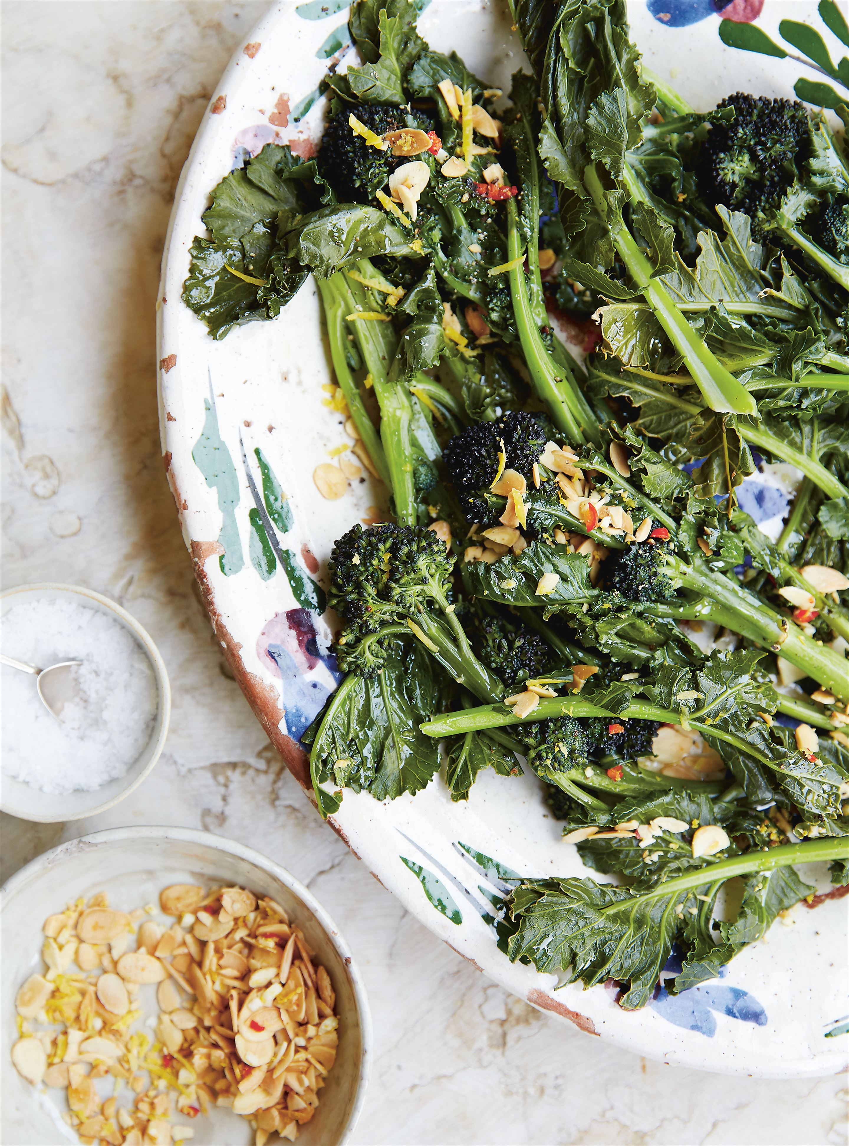 Purple sprouting broccoli with spicy almond crunch