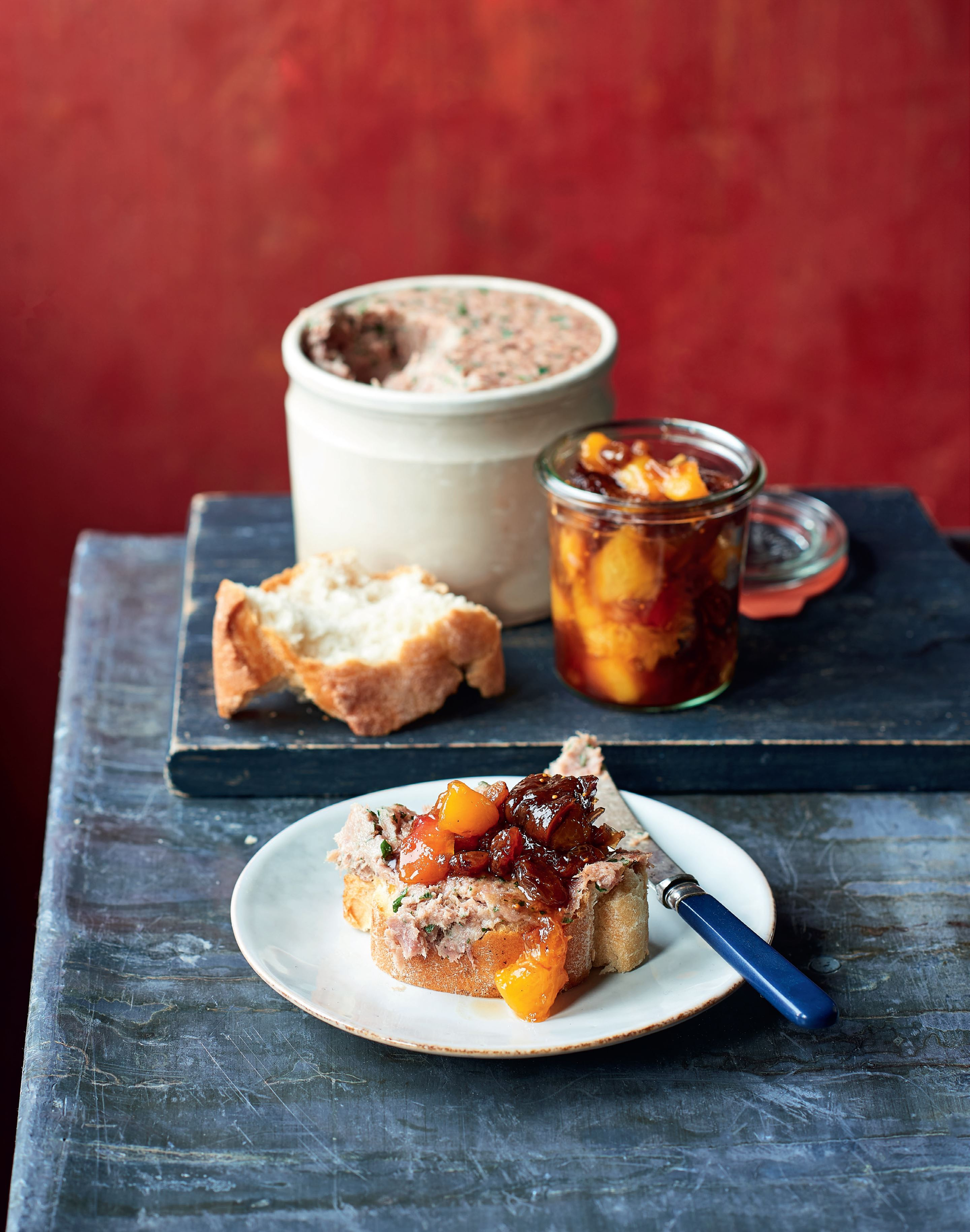 Duck rillettes with fig & peach chutney