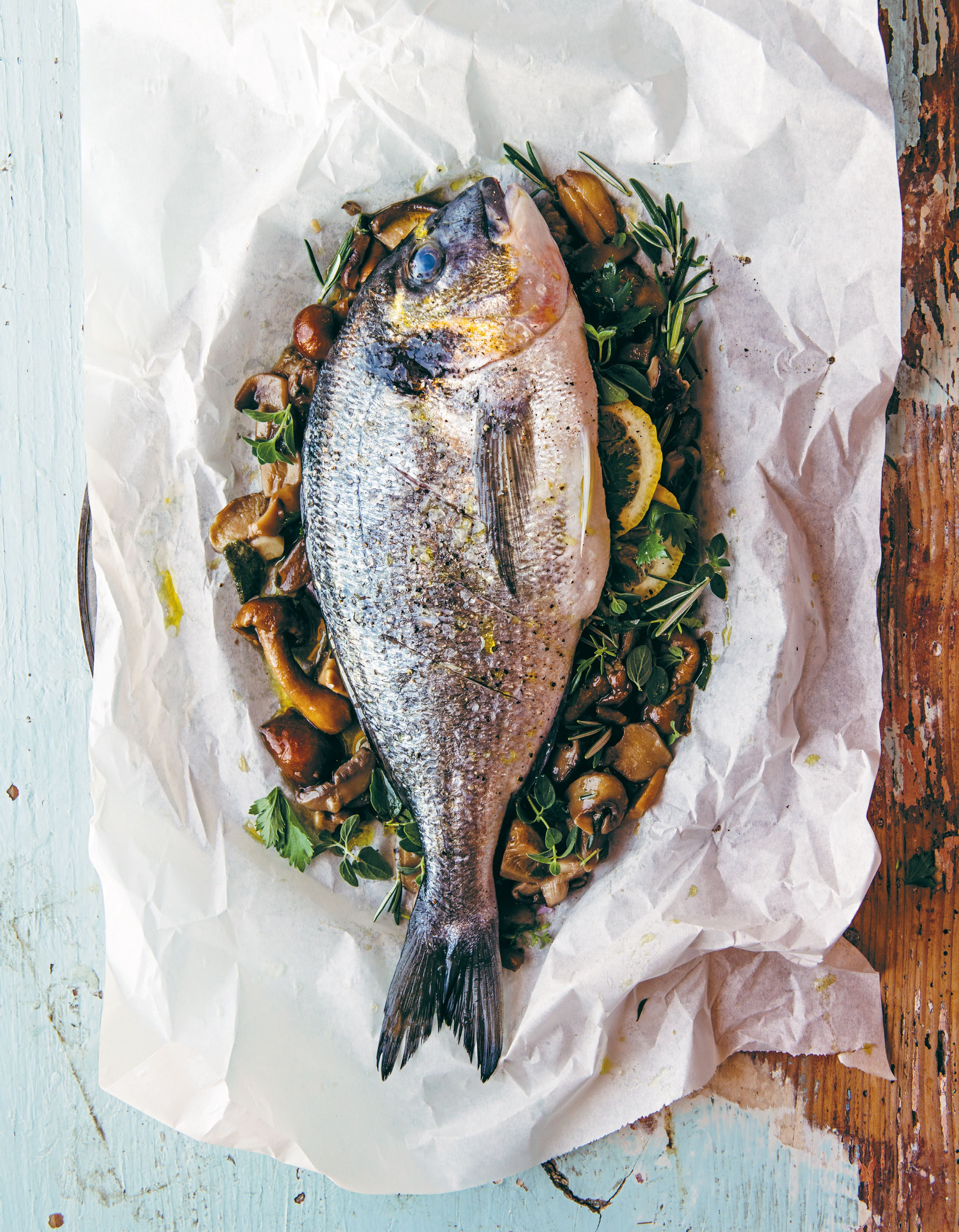 Paper-baked sea bream with mushrooms