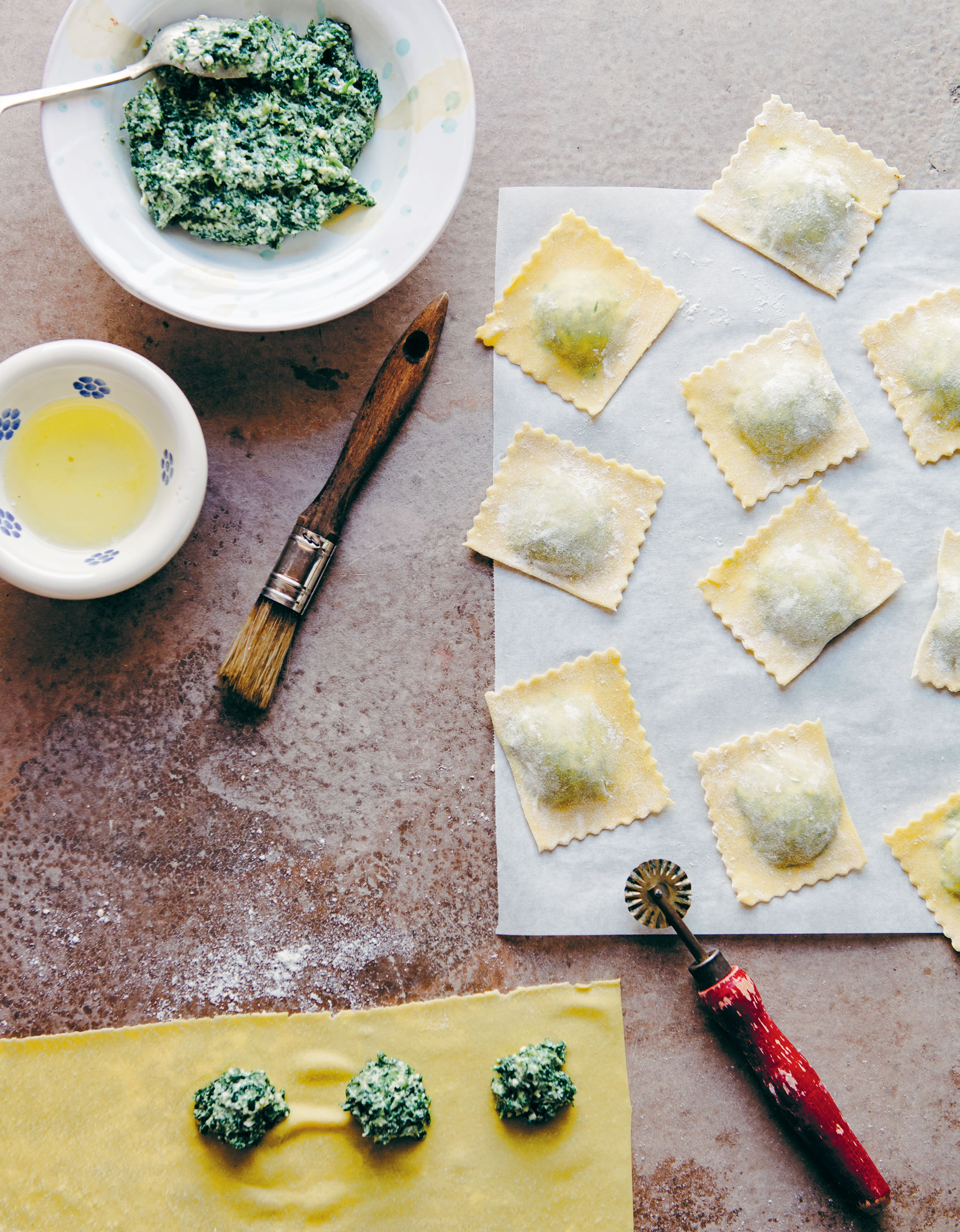 Ricotta and spinach tortelli