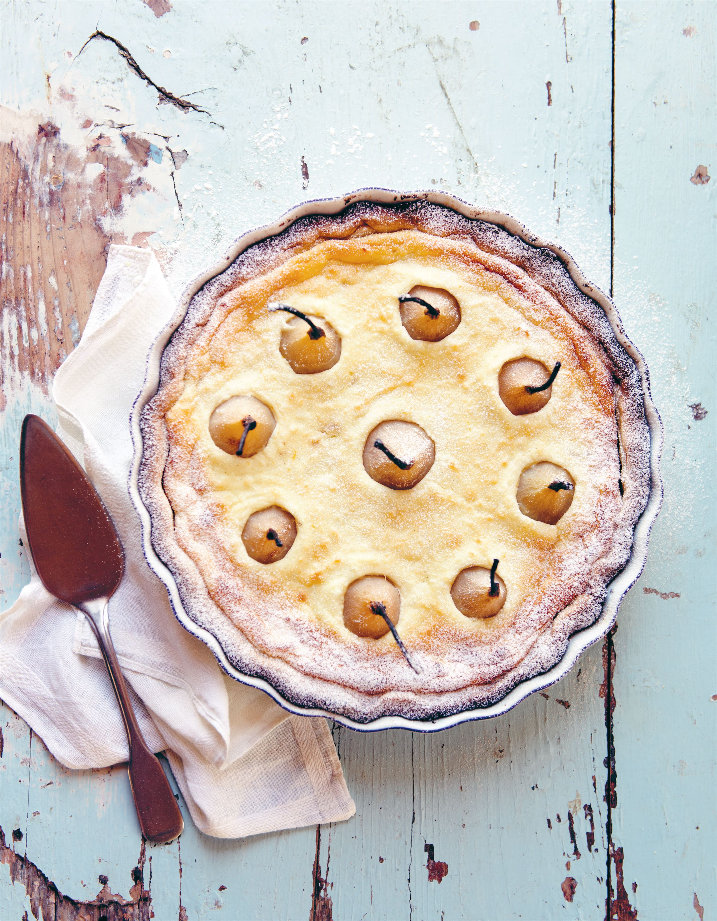Ricotta and baby pear tart