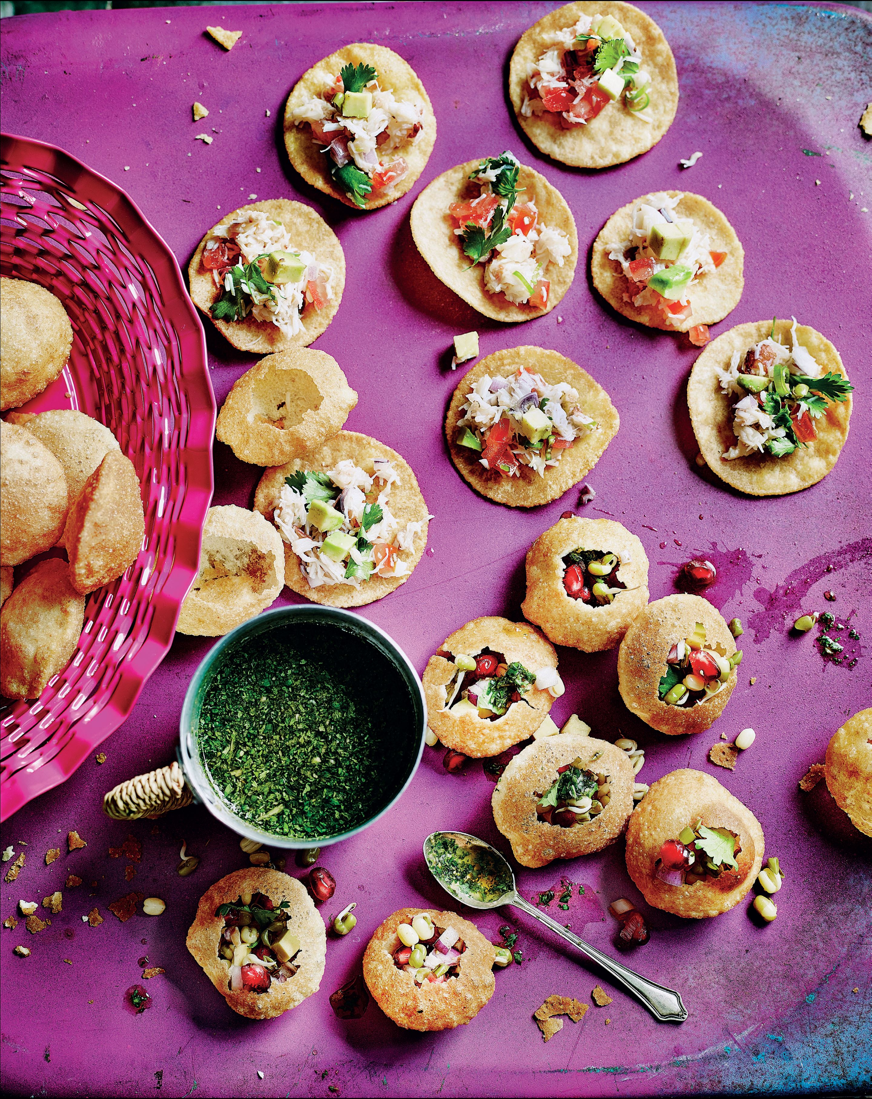 Sprouted lentil and pomegranate pani puris