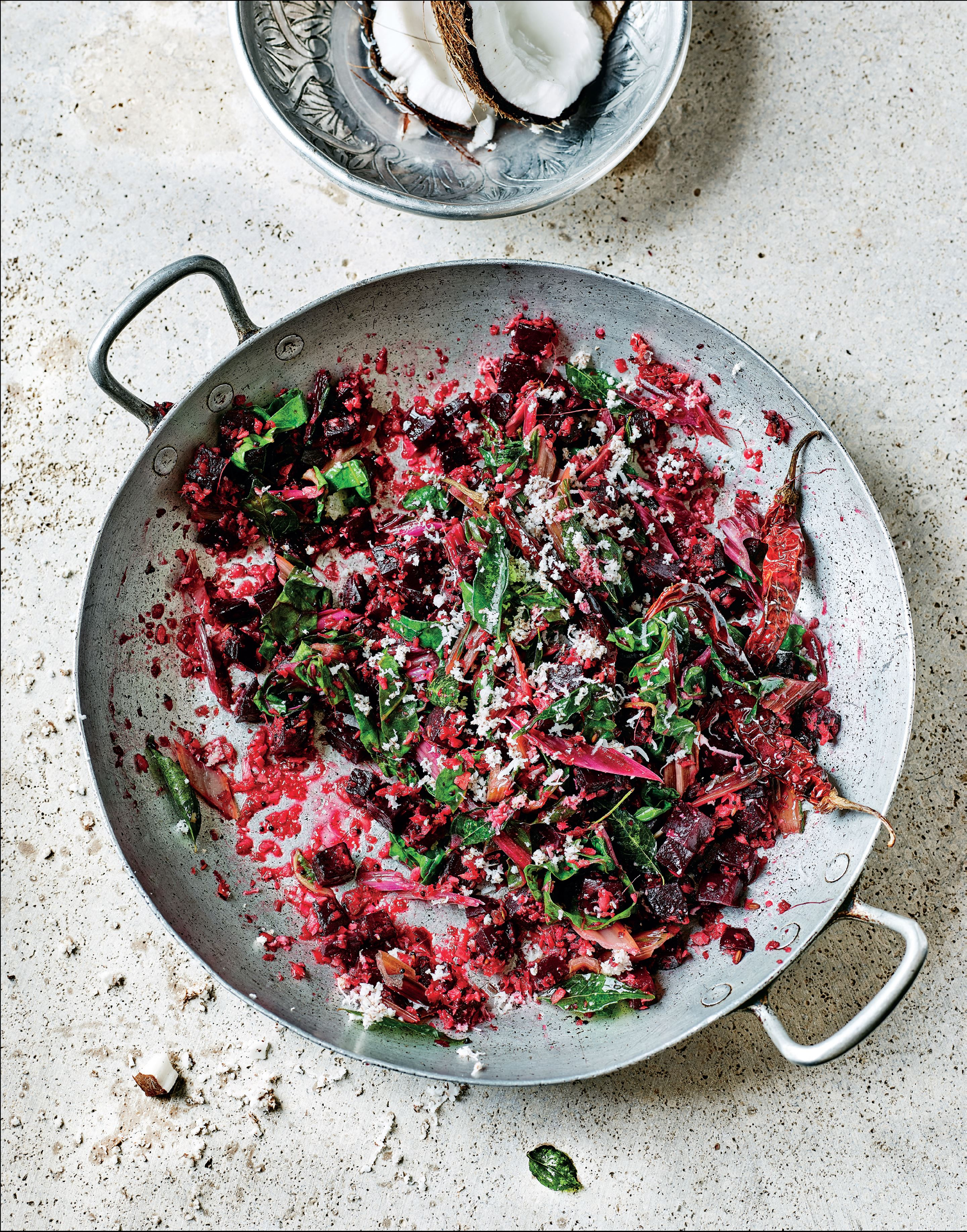 Beetroot and ruby chard thoran