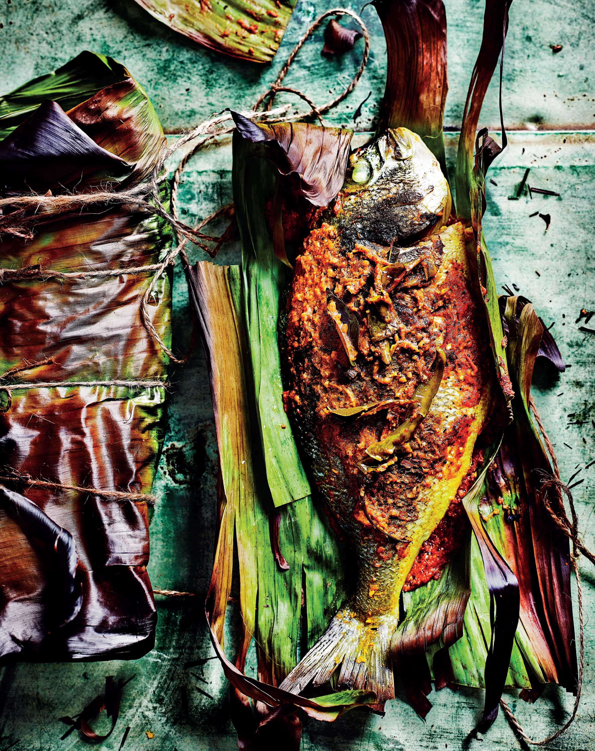 Keralan banana leaf-wrapped fish