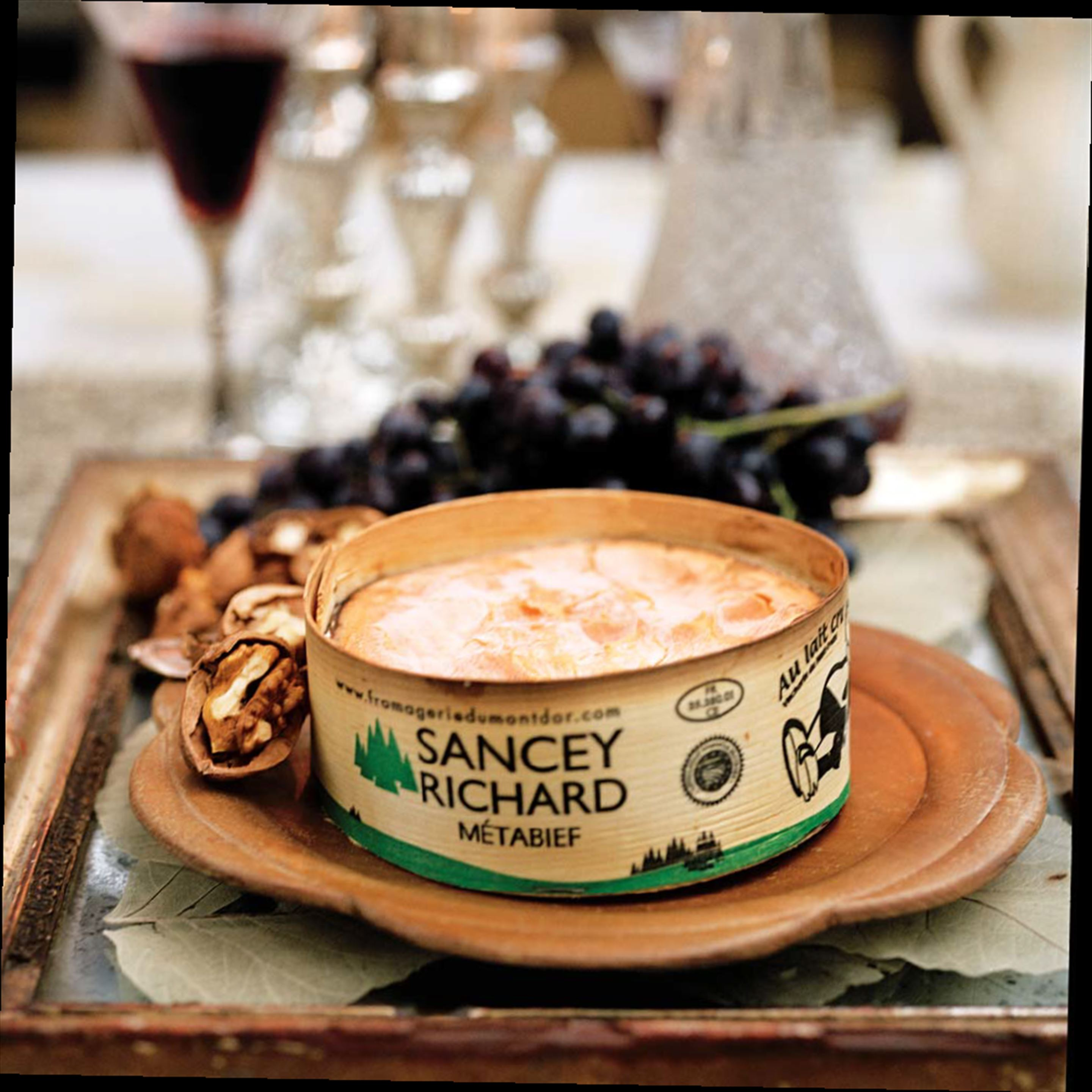 Vacherin with walnuts and muscat grapes