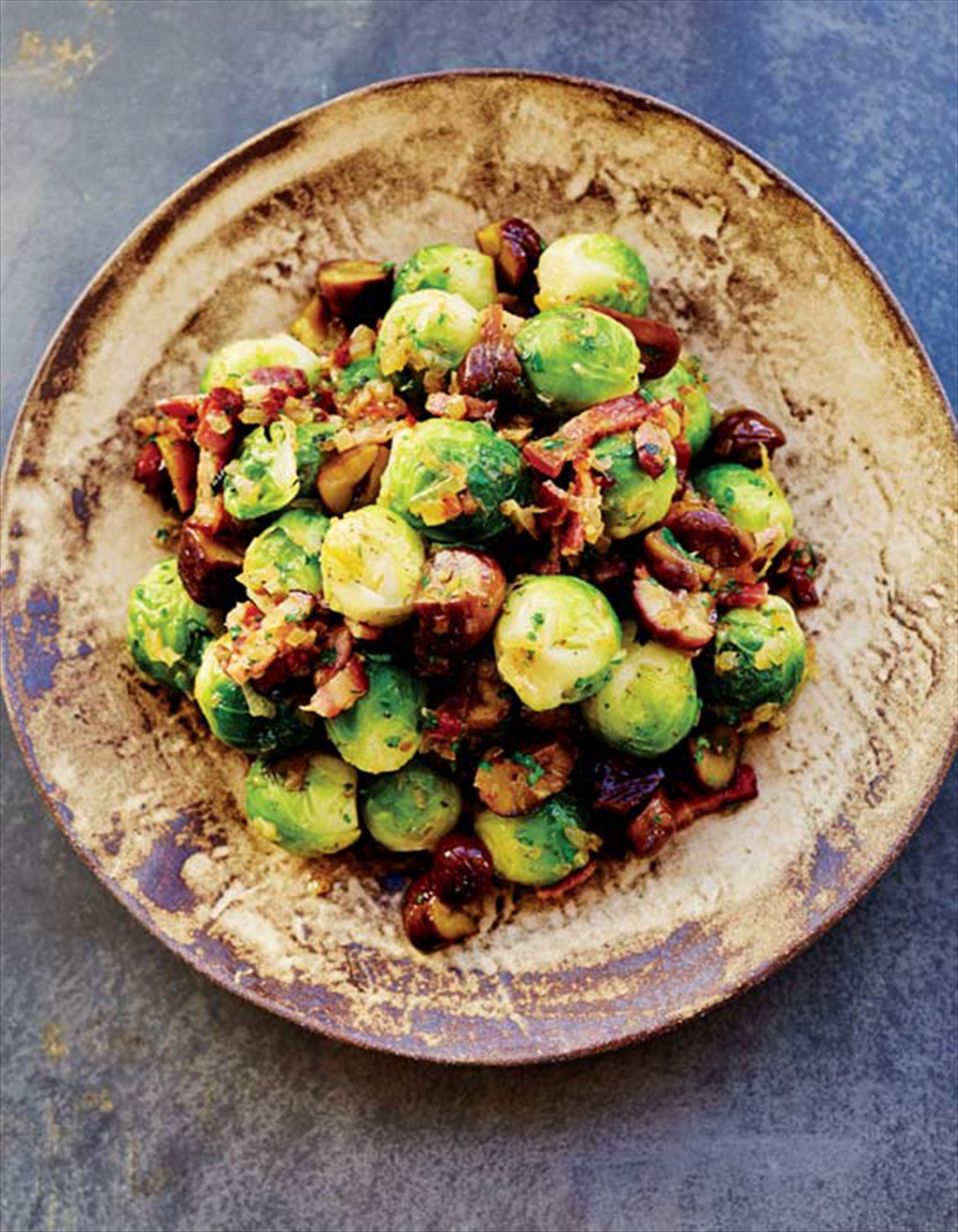 Brussels sprouts with chestnuts and bacon