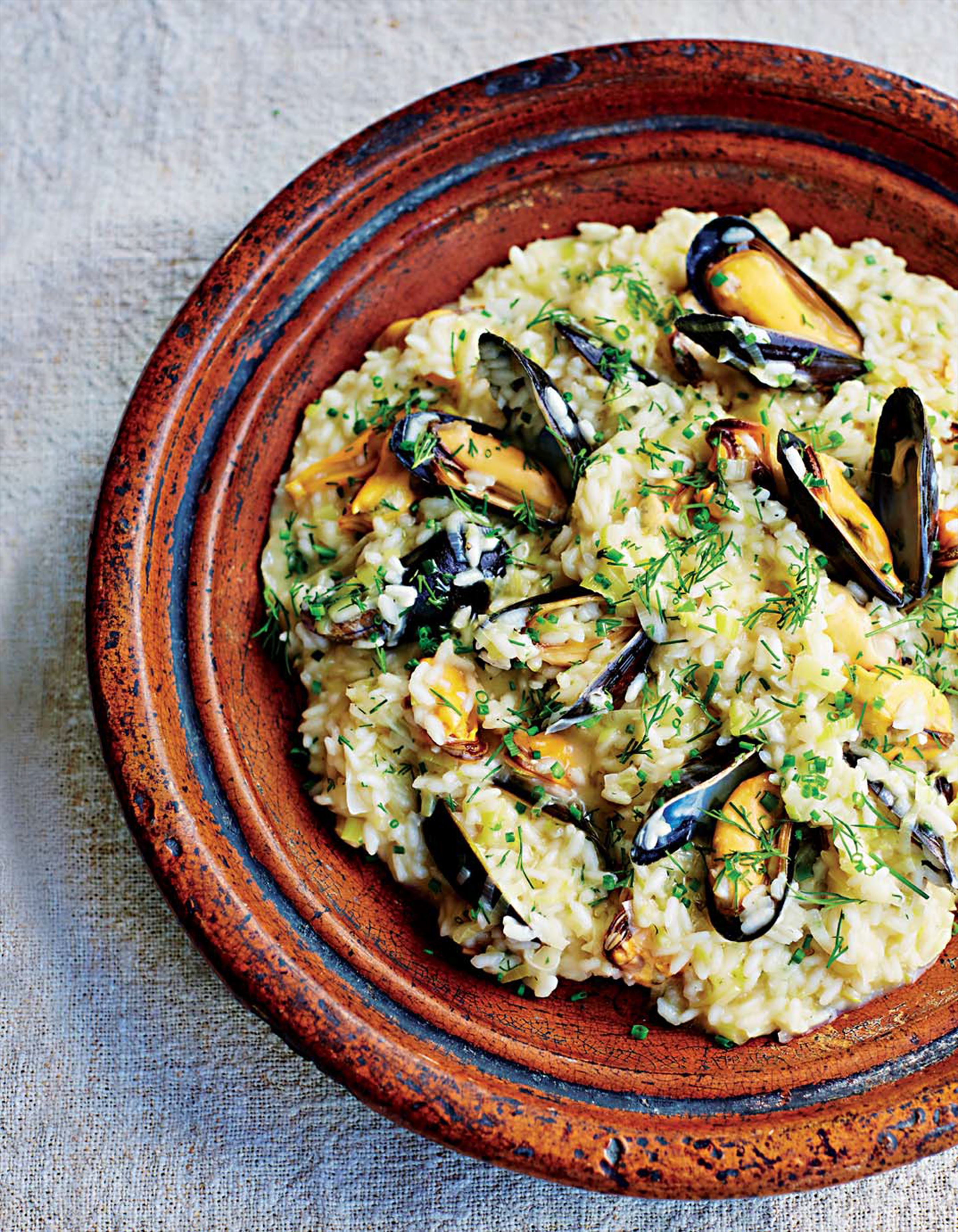 Mussel and leek risotto
