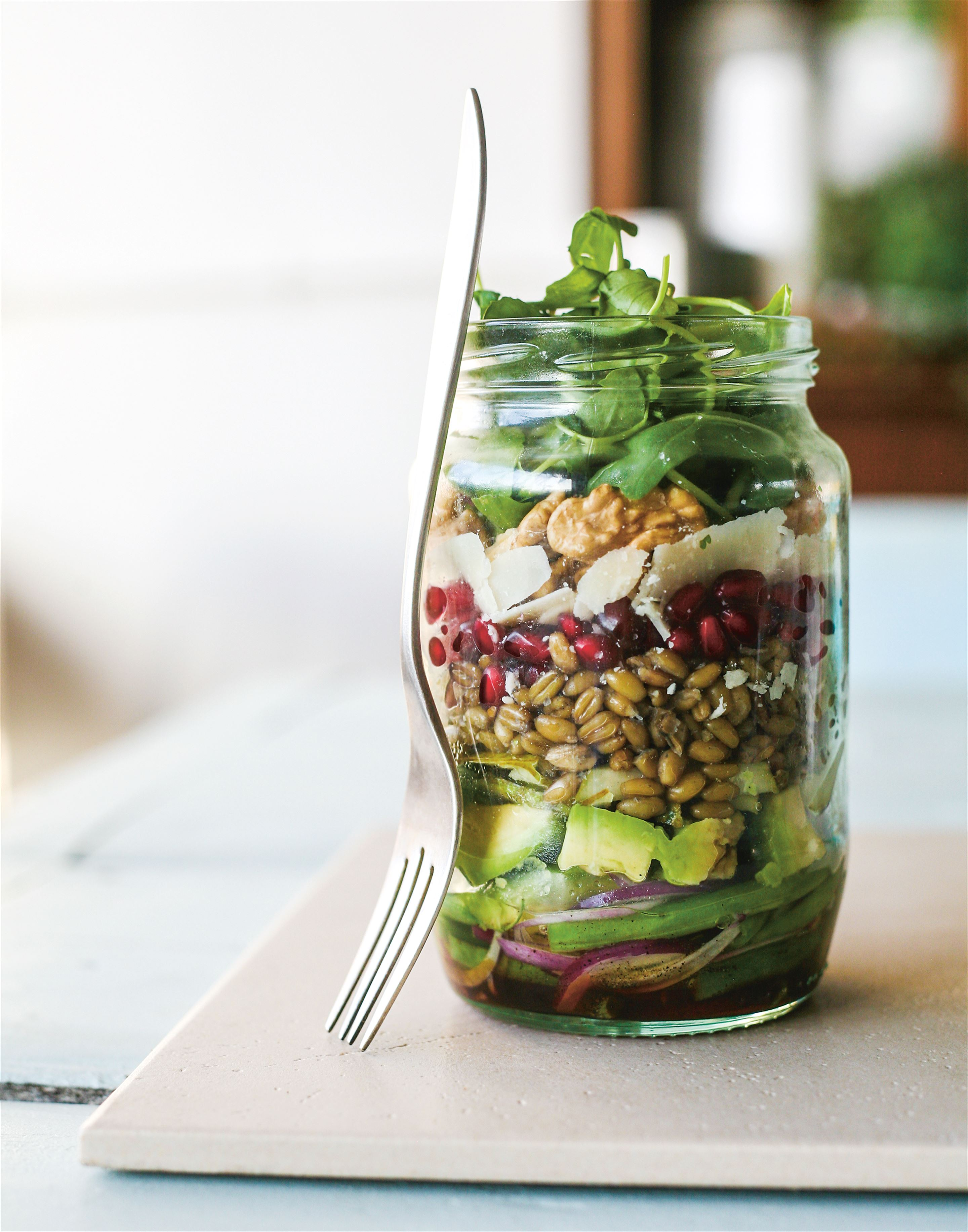 Balsamic, pomegranate & rocket jar salad