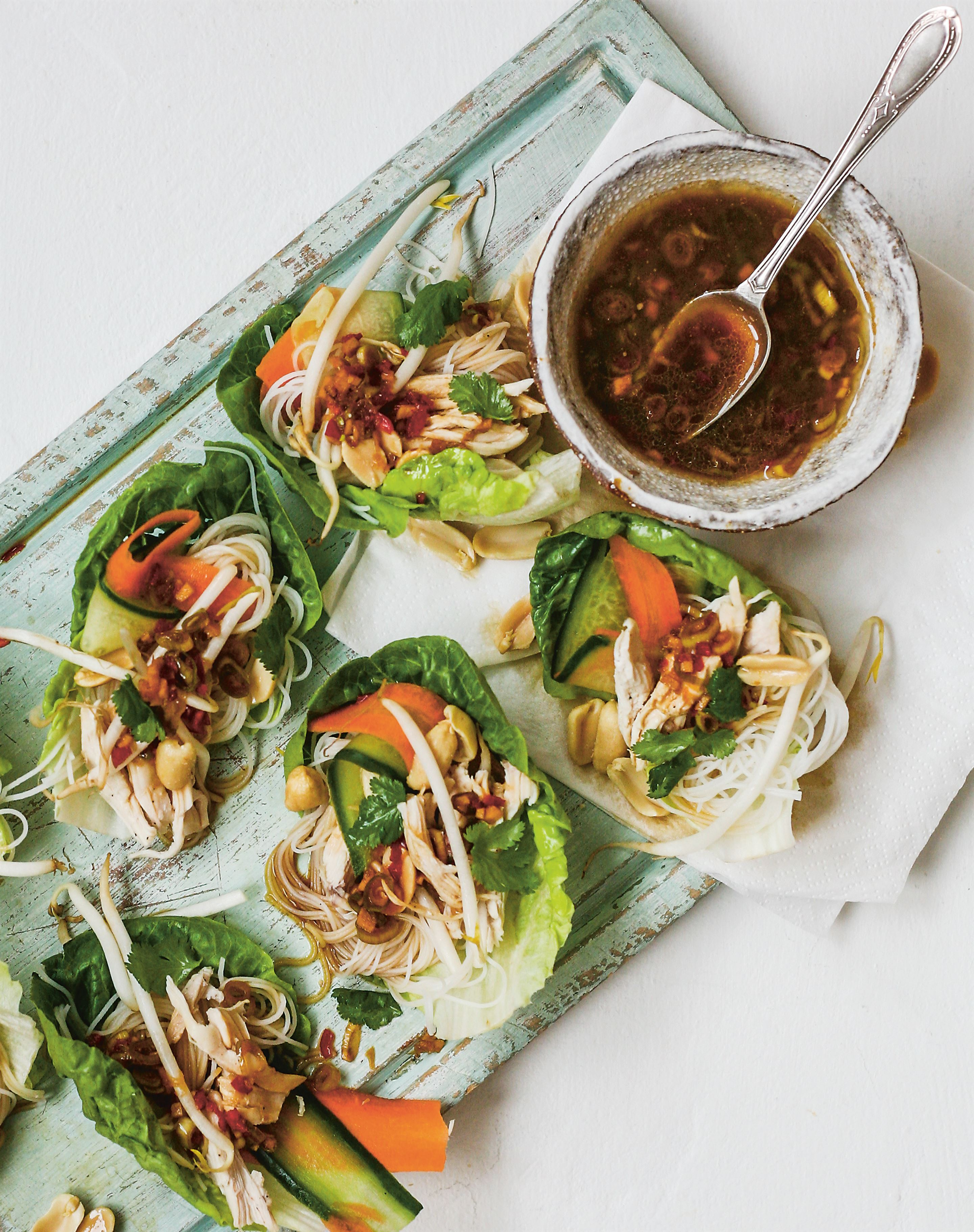 Vietnamese chicken leaf cups with nam jim sauce