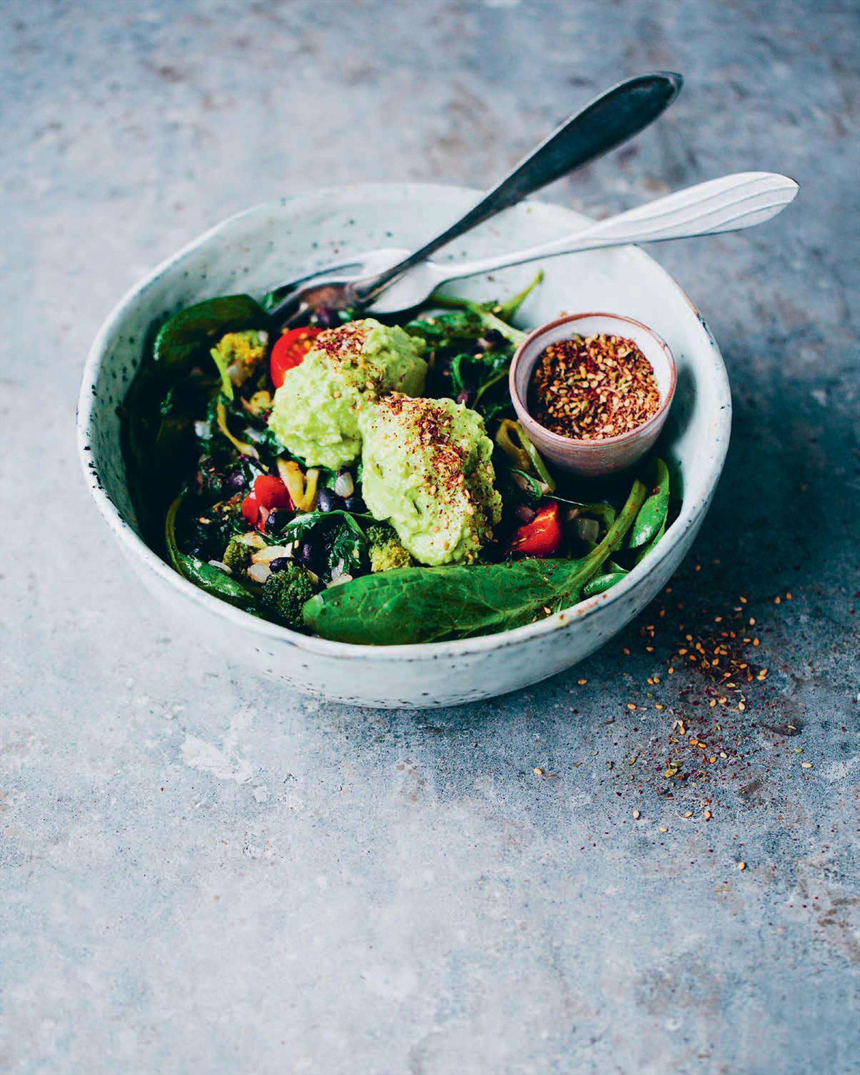 Warm black beans and greens with avo and za'atar
