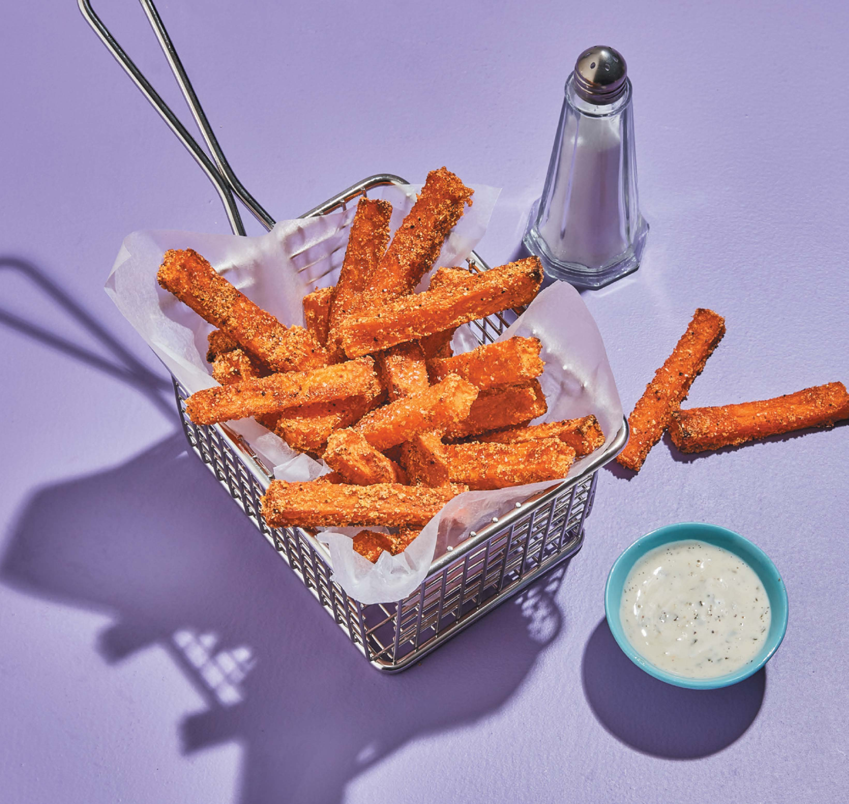 Sweet potato oven fries with lime coriander dipping sauce