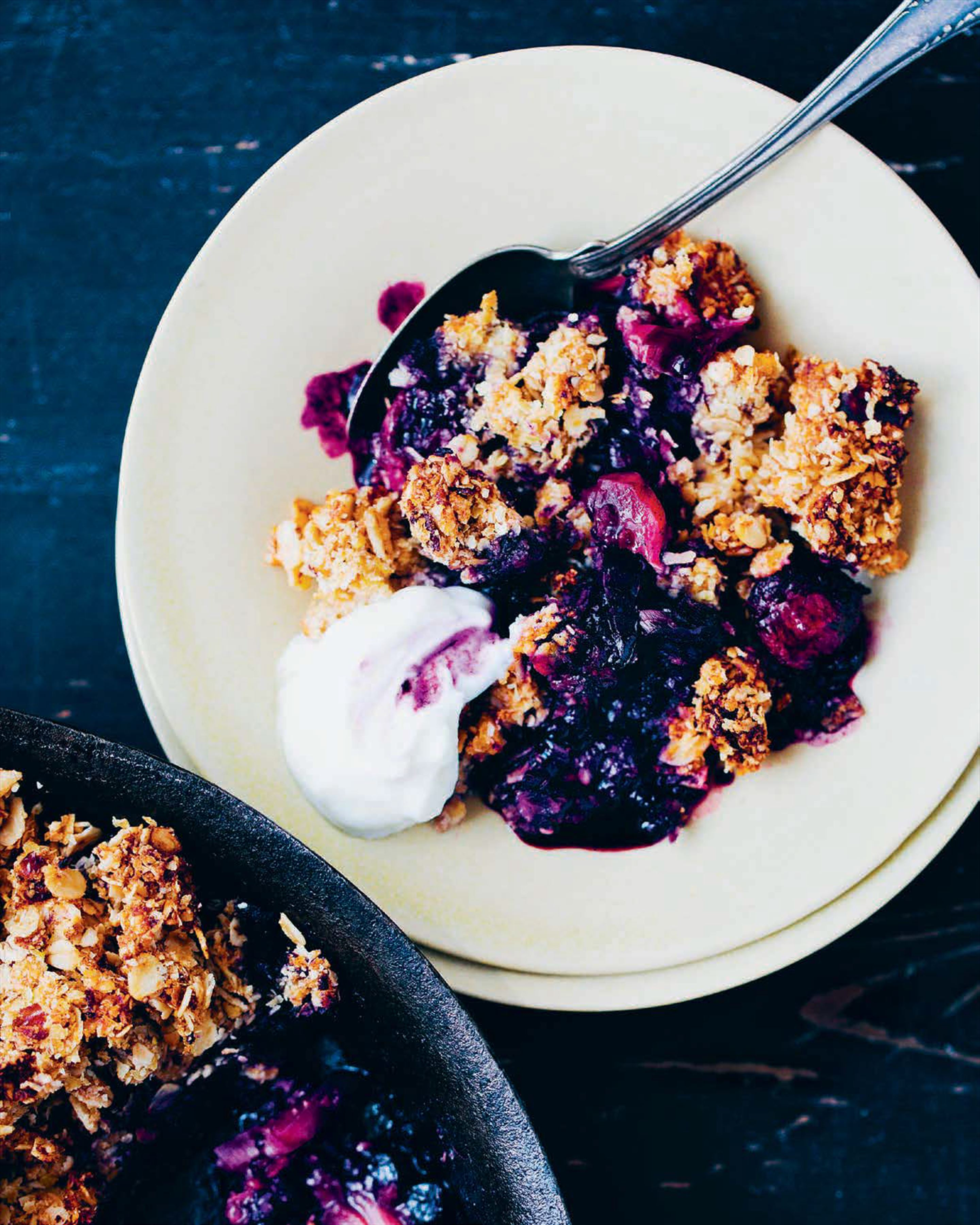 Berry, rhubarb and date crumble