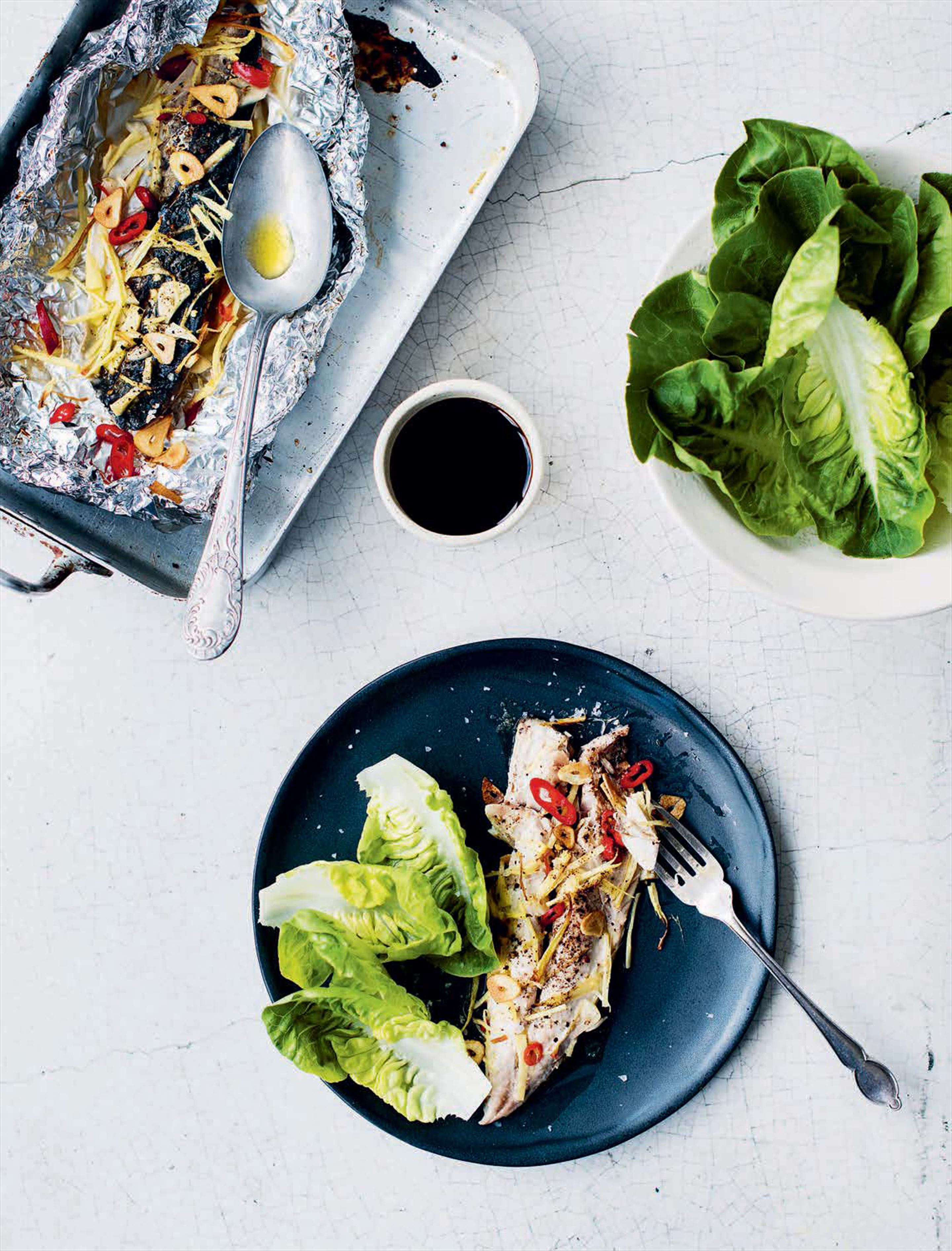 Asian-style mackerel foil parcels