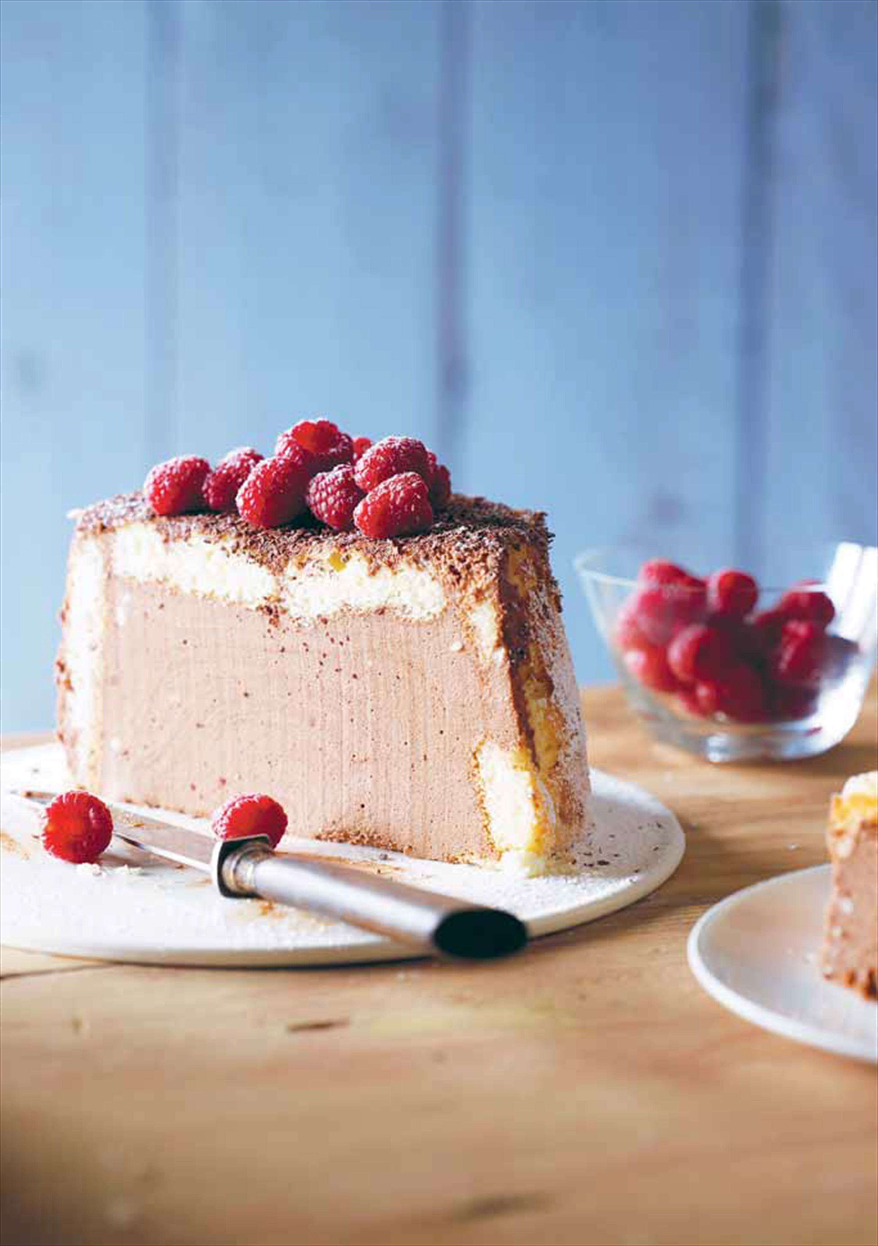 Chocolate charlotte with raspberries