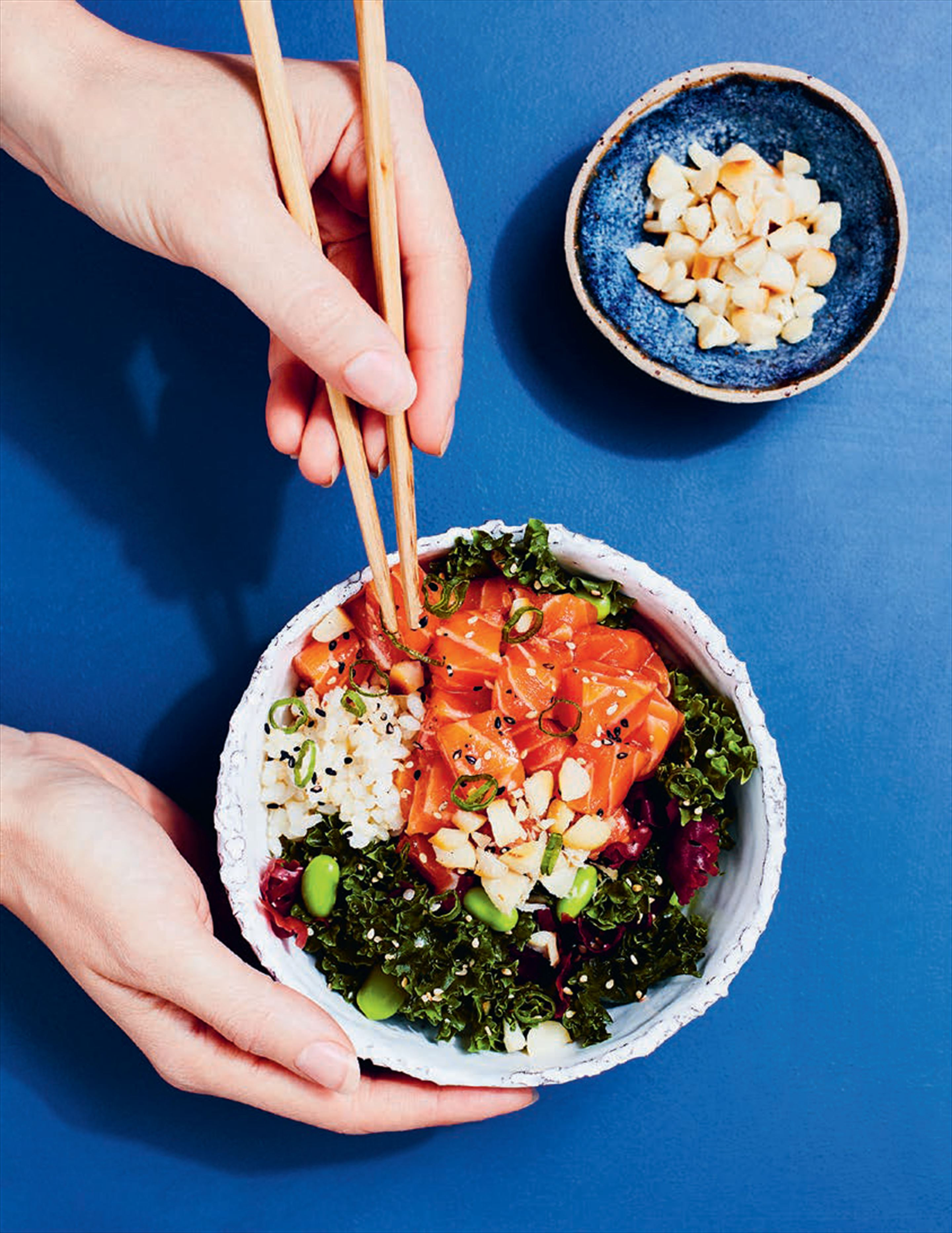 Salmon poke with ponzu kale