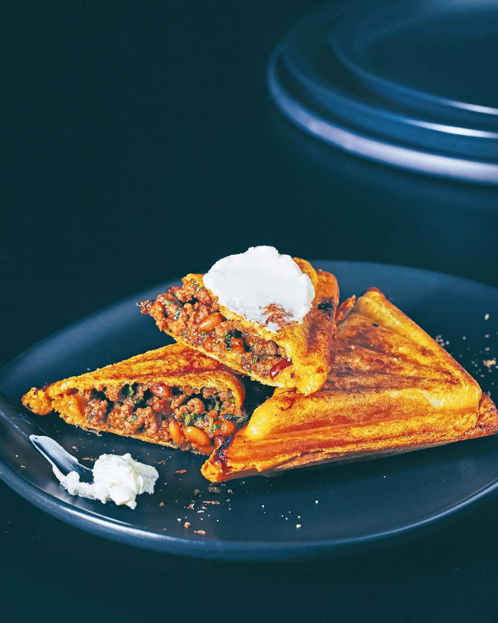 Spicy lamb mince jaffle with soft labne spread
