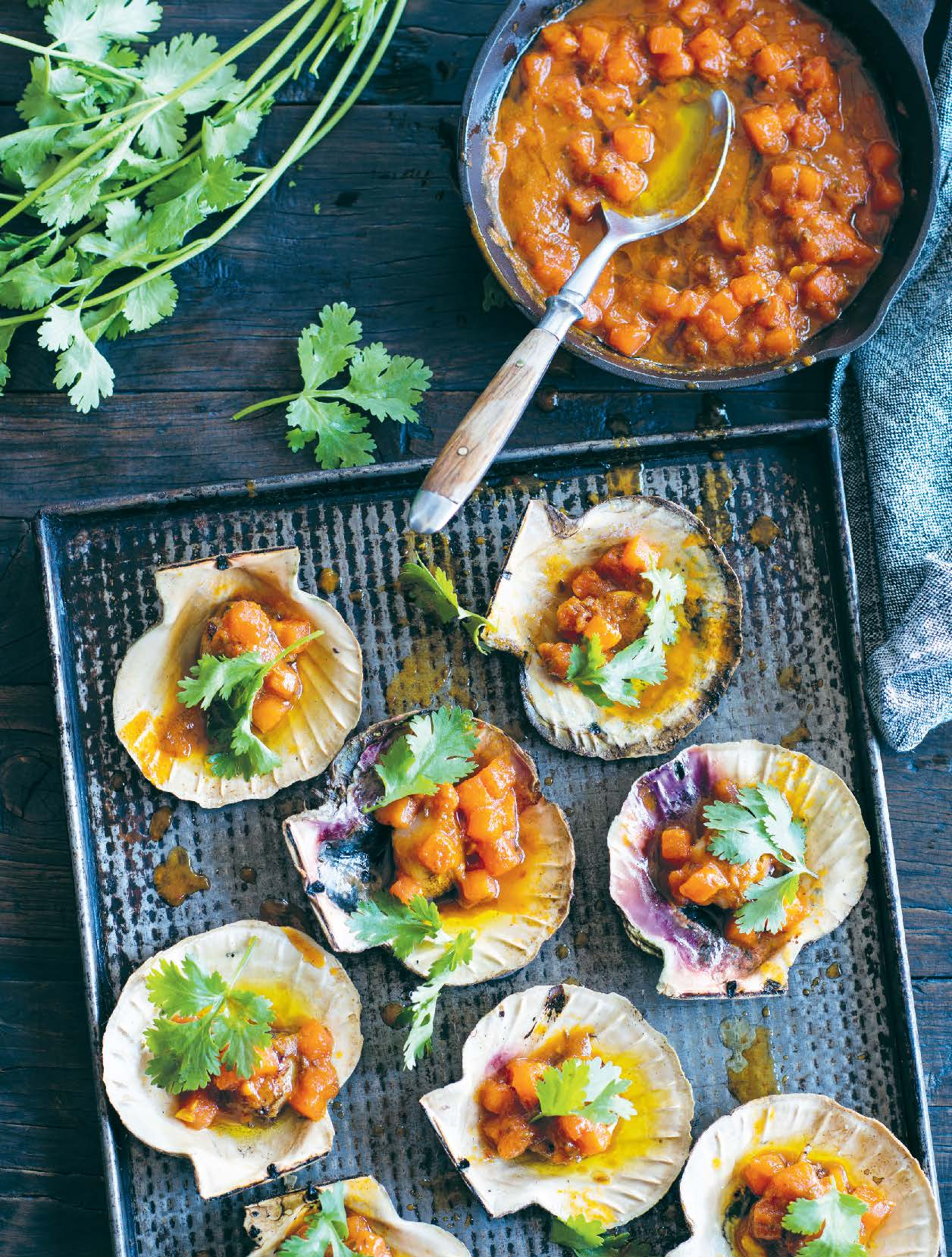 Baked scallops with watermelon and hazelnut curry