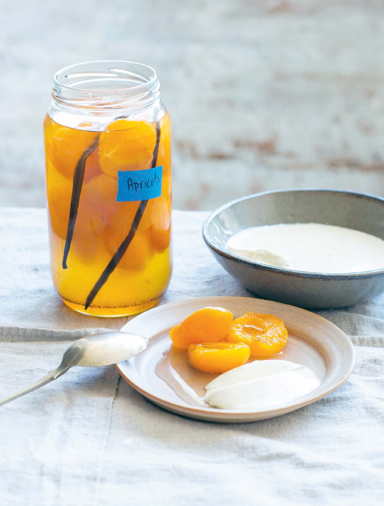 Poached apricots with lemon thyme junket