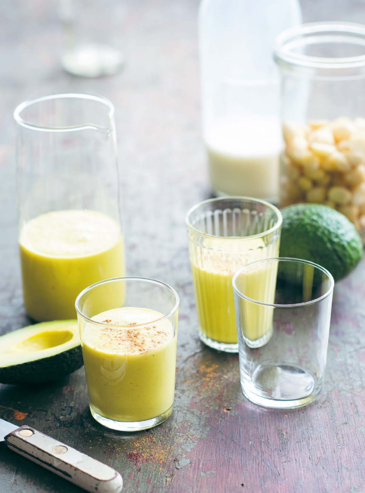 Chilled avocado, turmeric and cashew nut soup