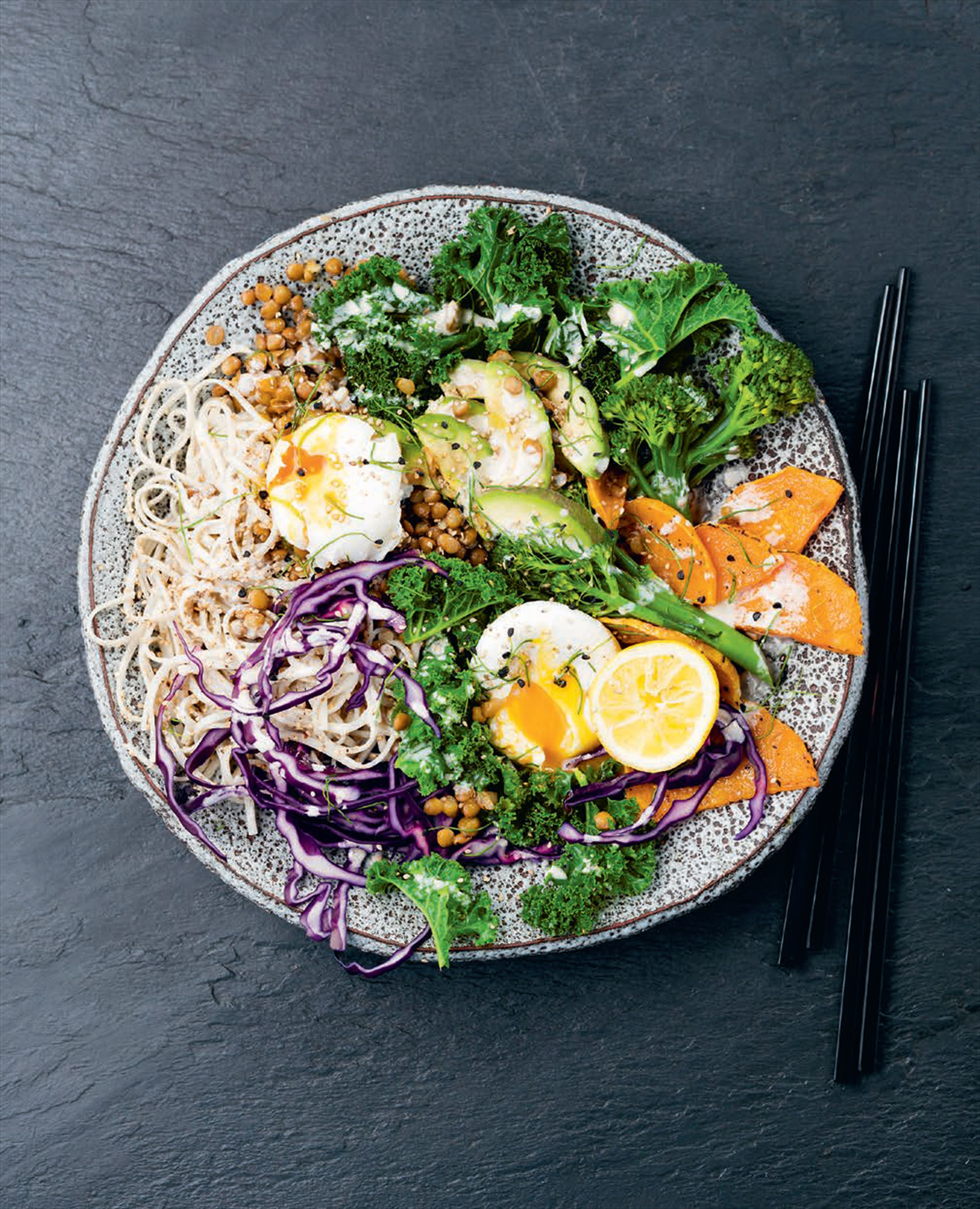 Kale & noodle goodness bowl with poached eggs