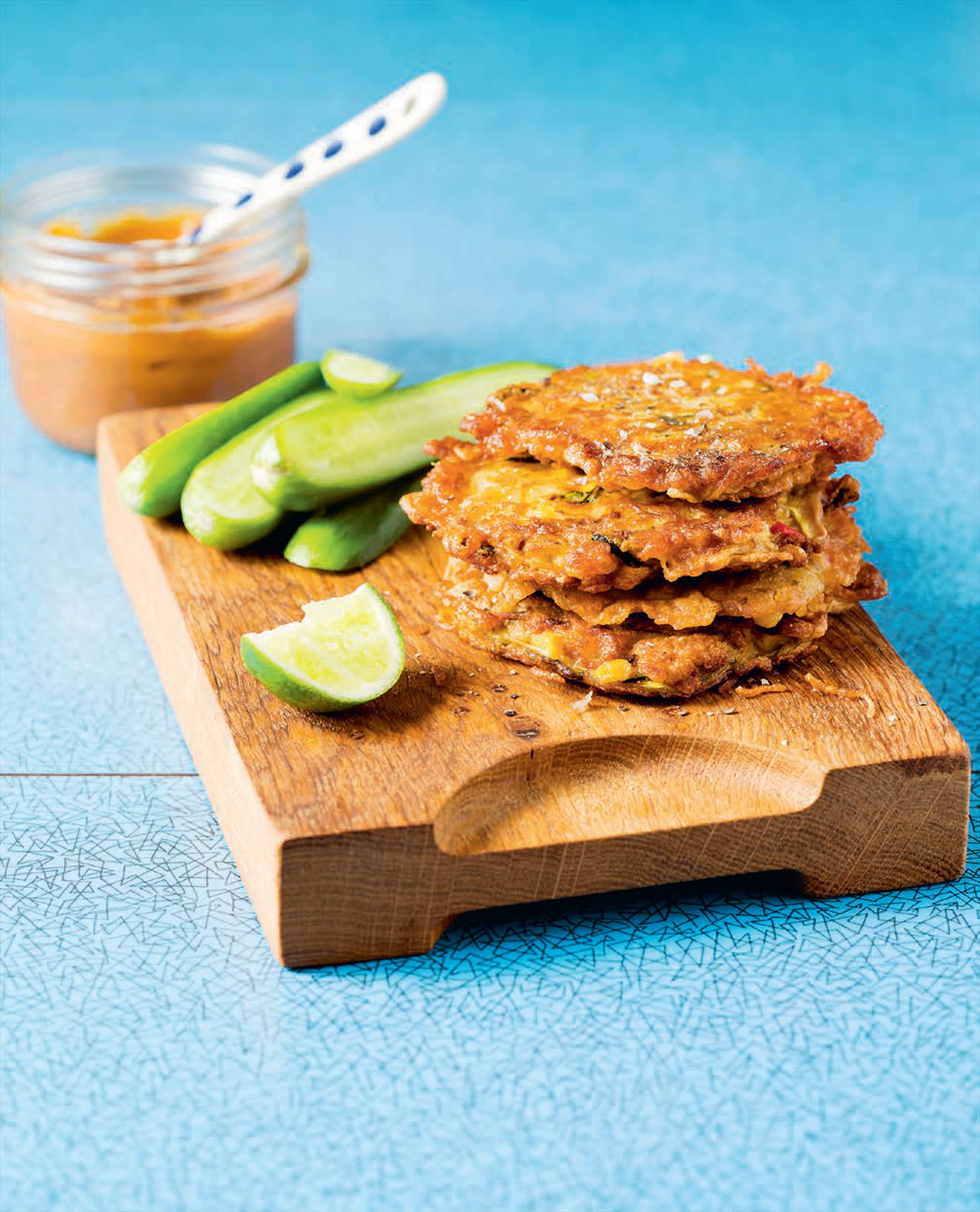 Noodle fritters with satay sauce