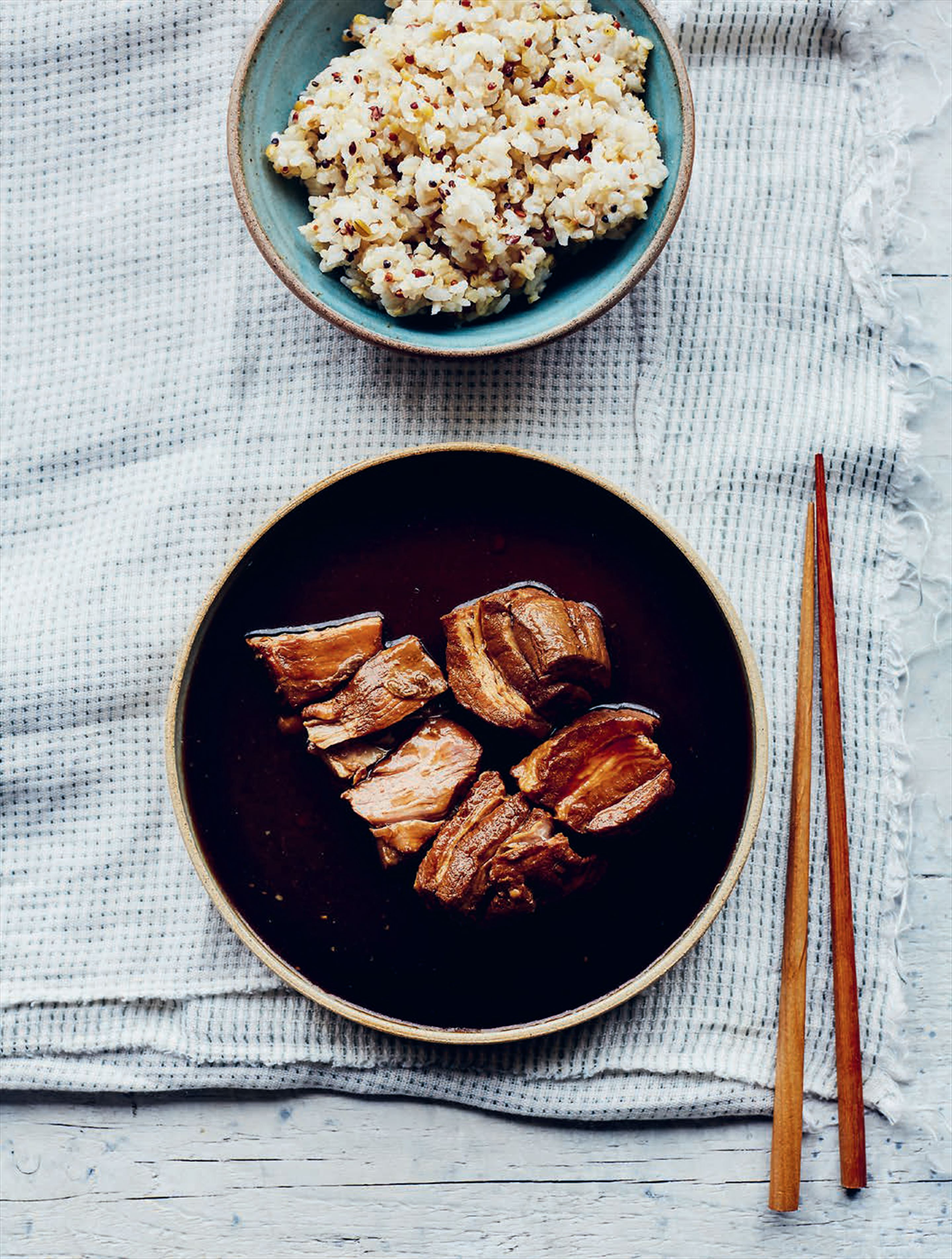 Sweet soy and stout-braised pork belly