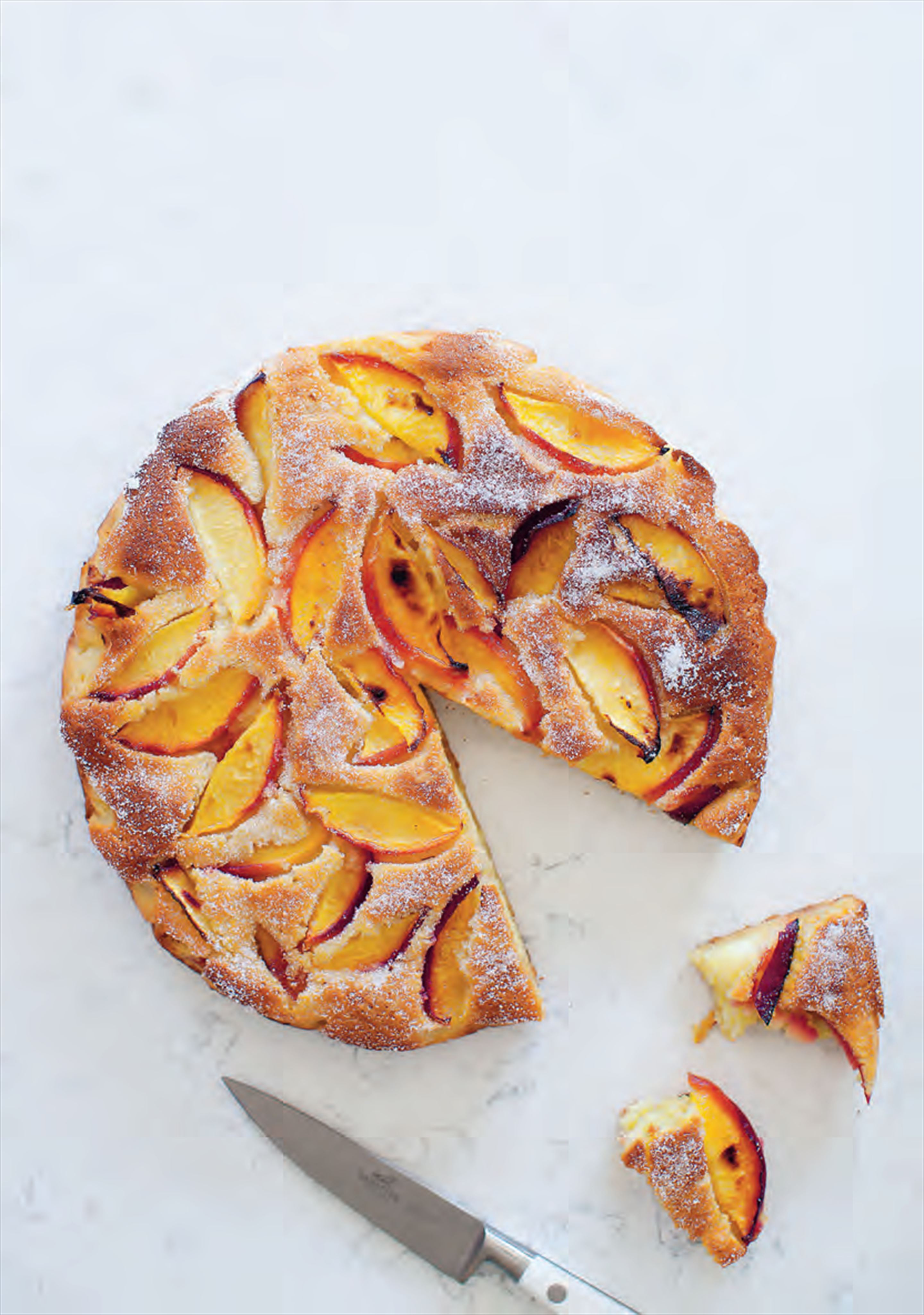 Marzipan and roasted nectarine cake