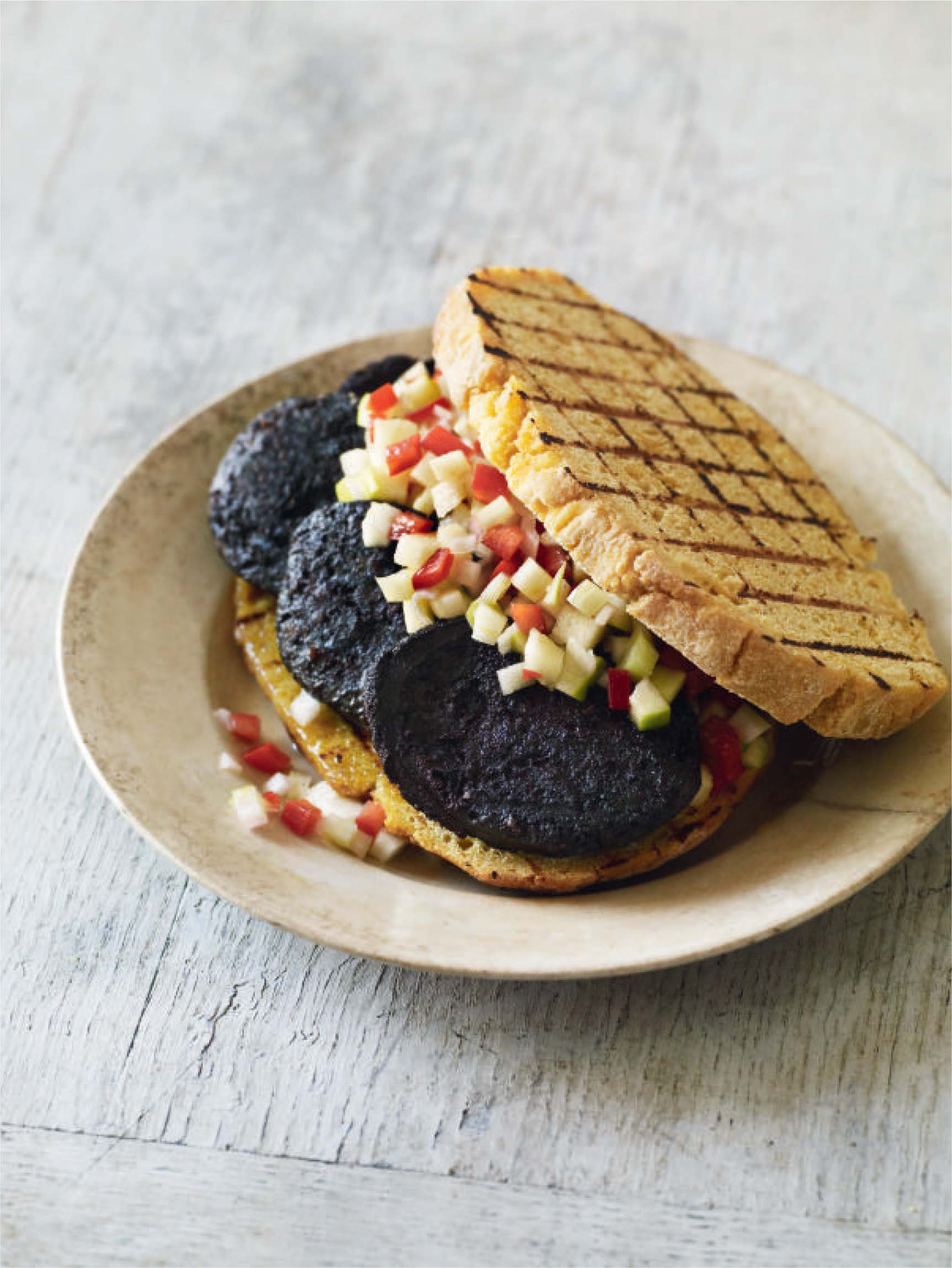 Black pudding and apple sandwich