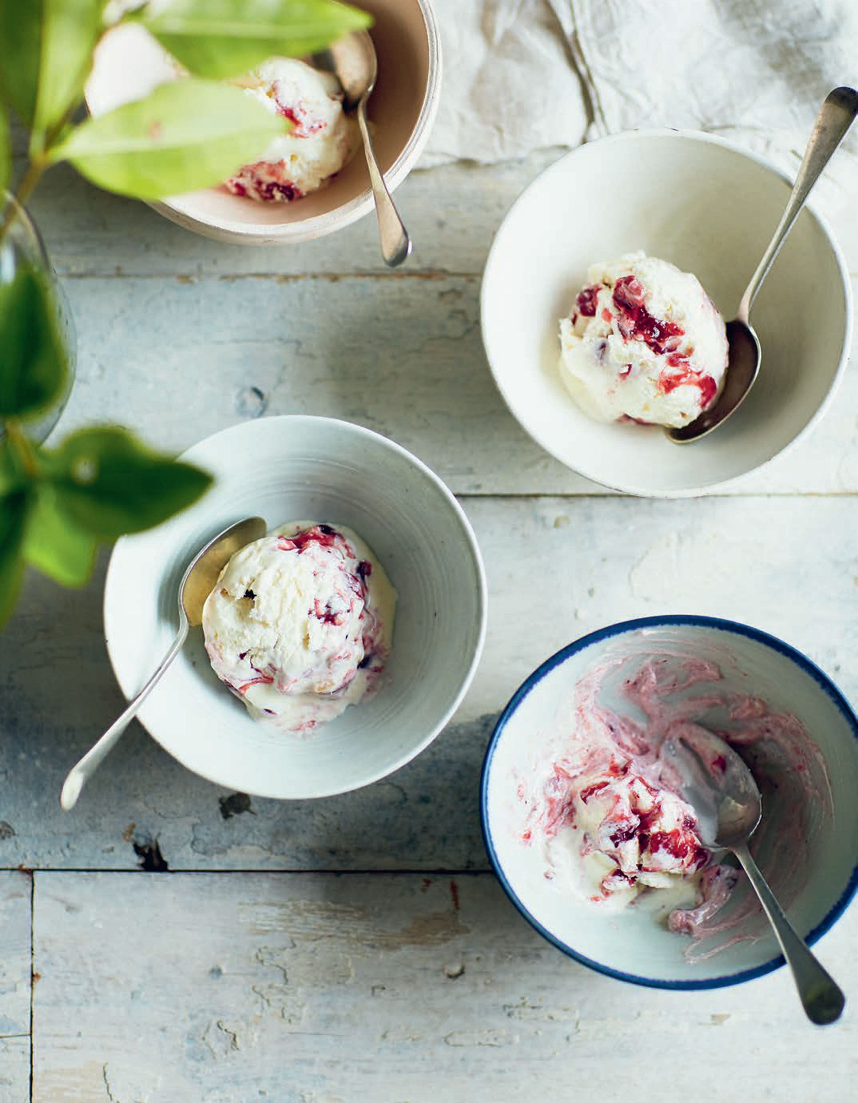 Ginger ice cream with lingonberry jam