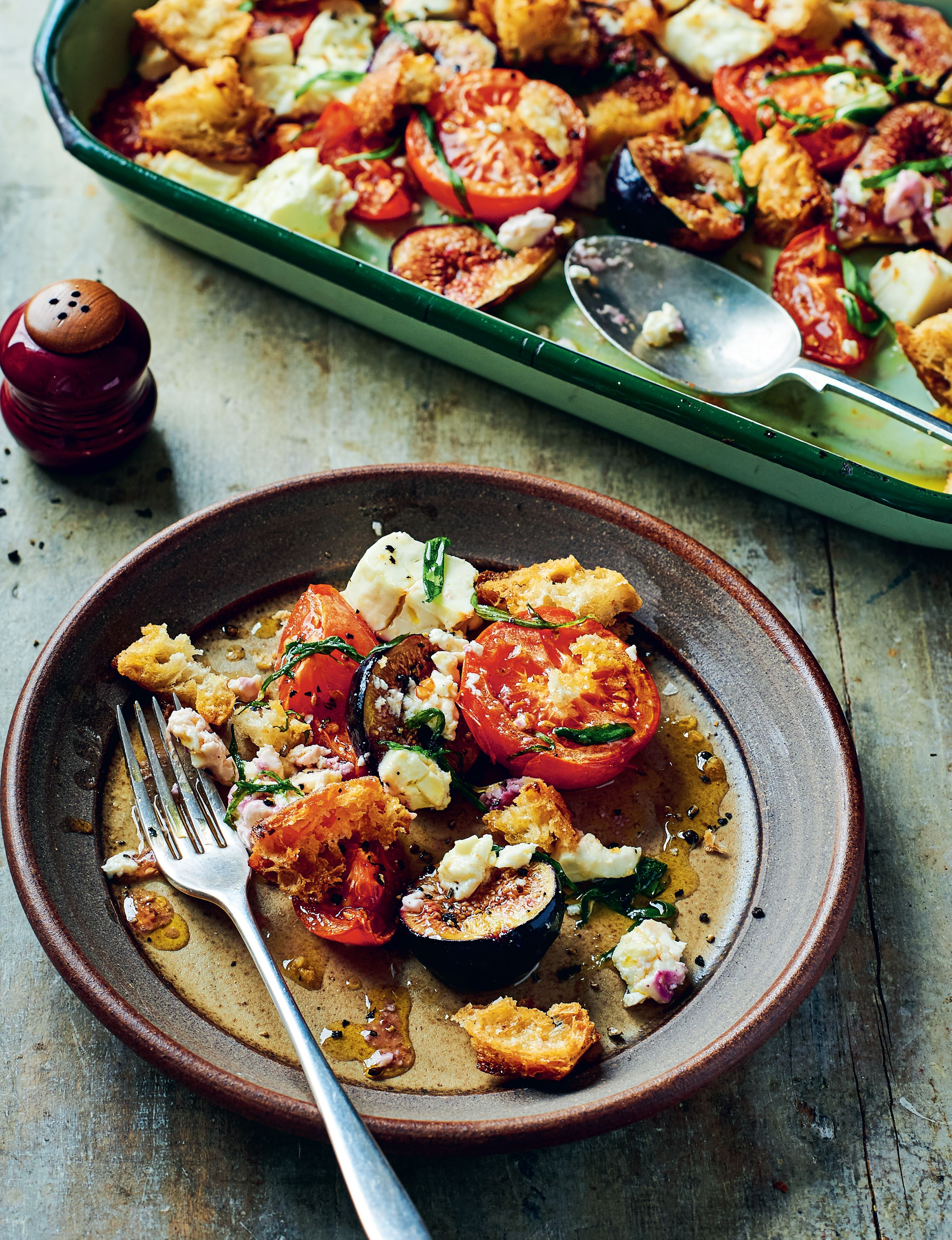 Warm salad of roast tomatoes, figs and feta with tarragon