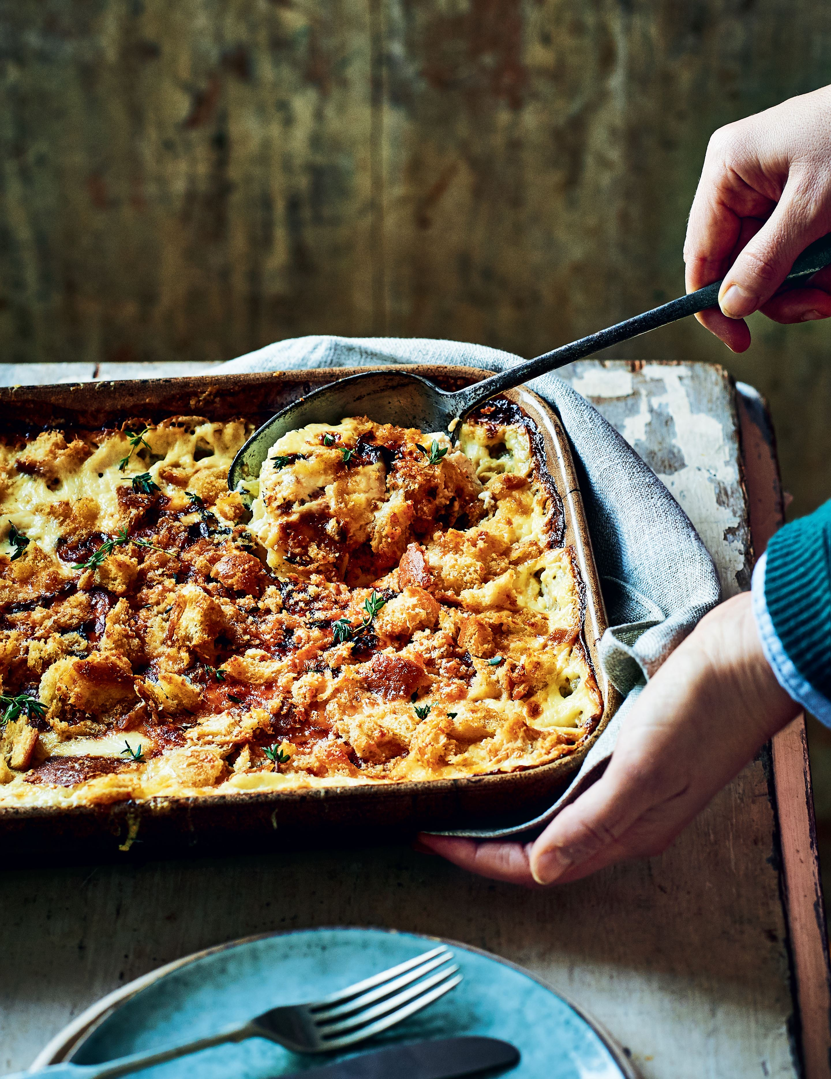 Celeriac, potato and anchovy gratin