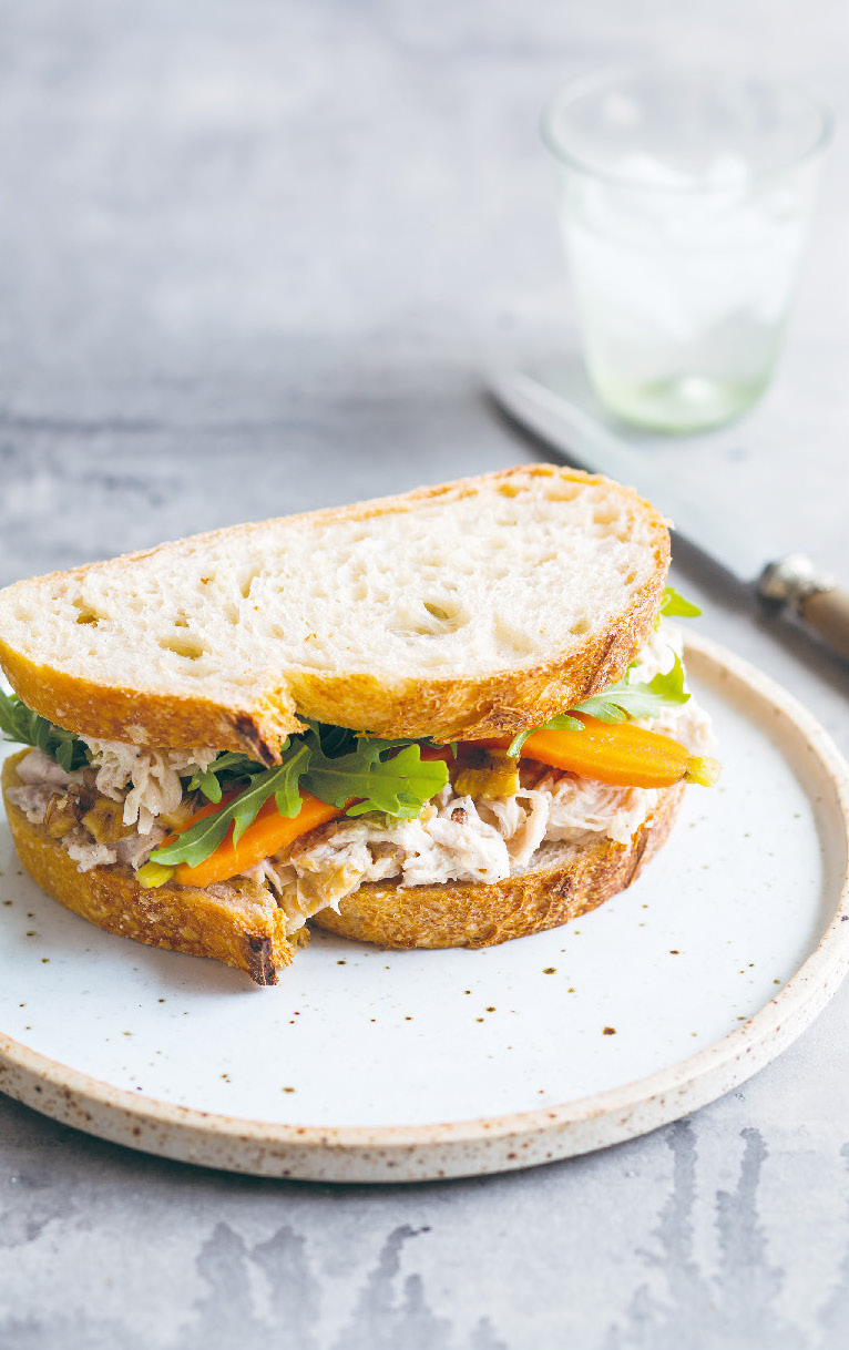 Roasted chicken sandwich with pickled carrots and garlic mayonnaise