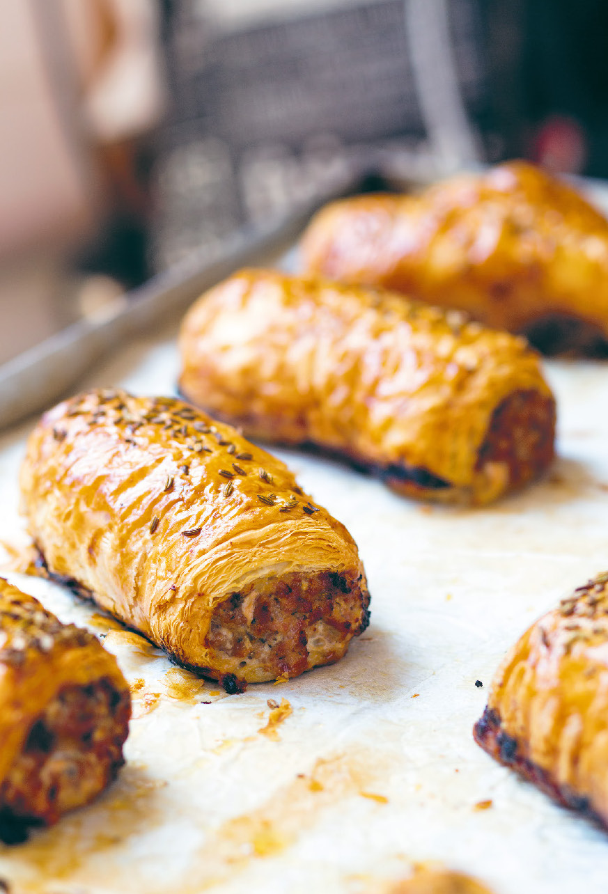 Pork, caramelised apple and fennel sausage roll