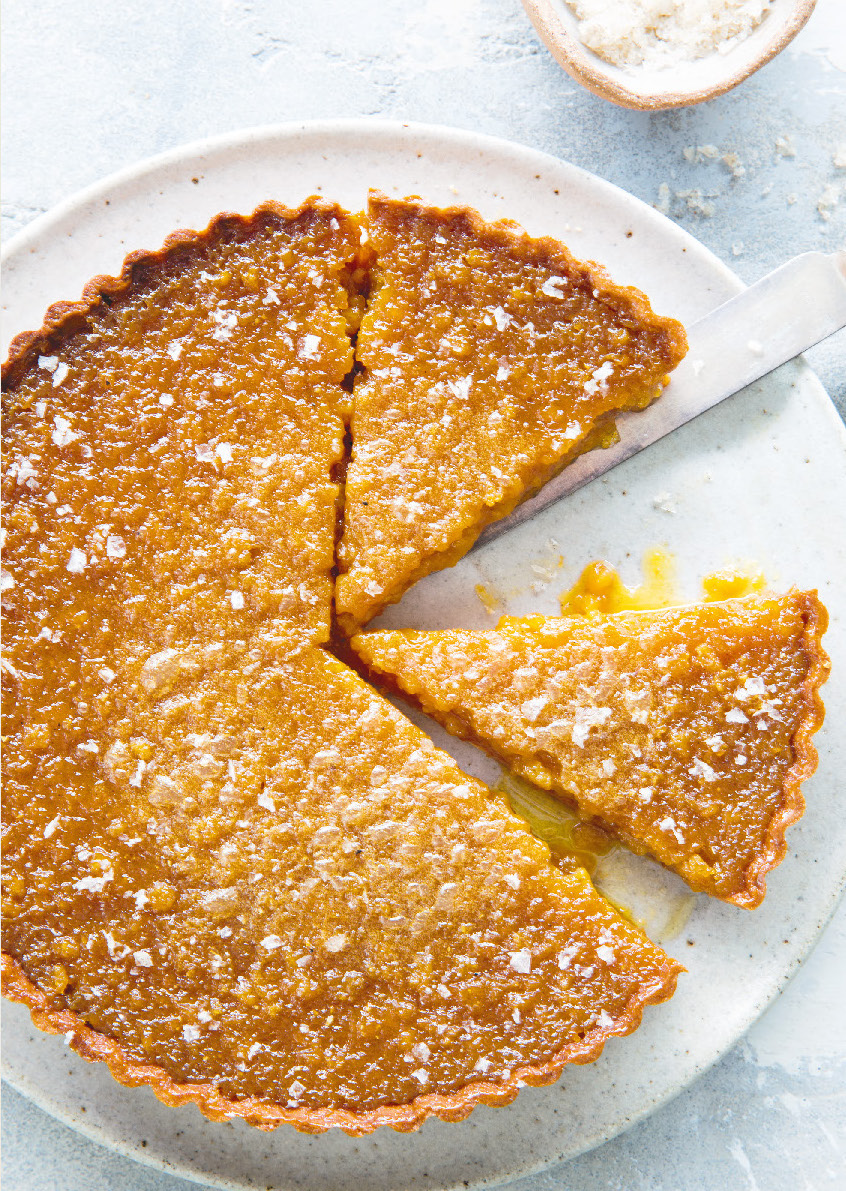 Treacle and vanilla salt tart