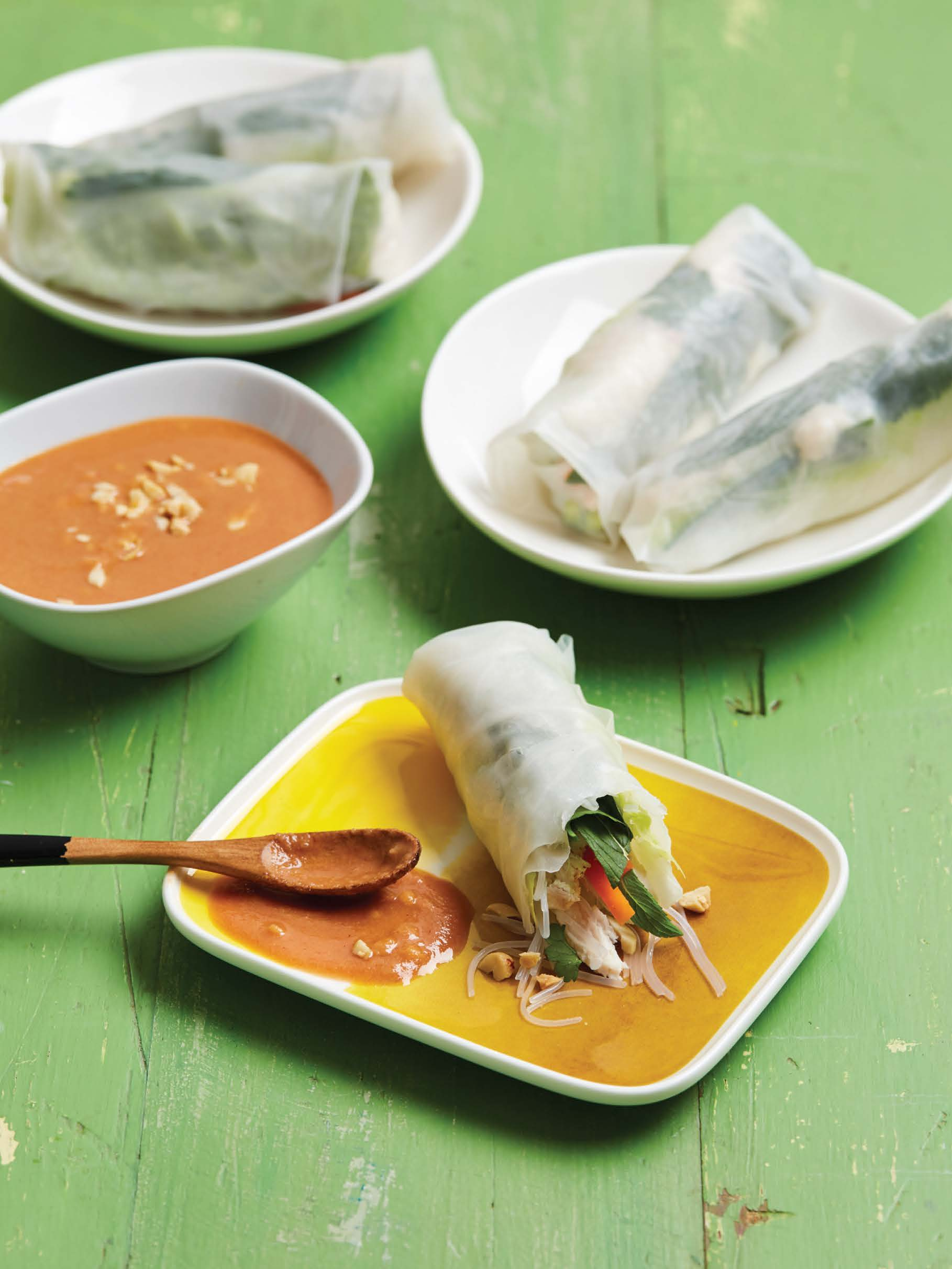 Chicken and noodle rice paper rolls with hoisin-peanut sauce