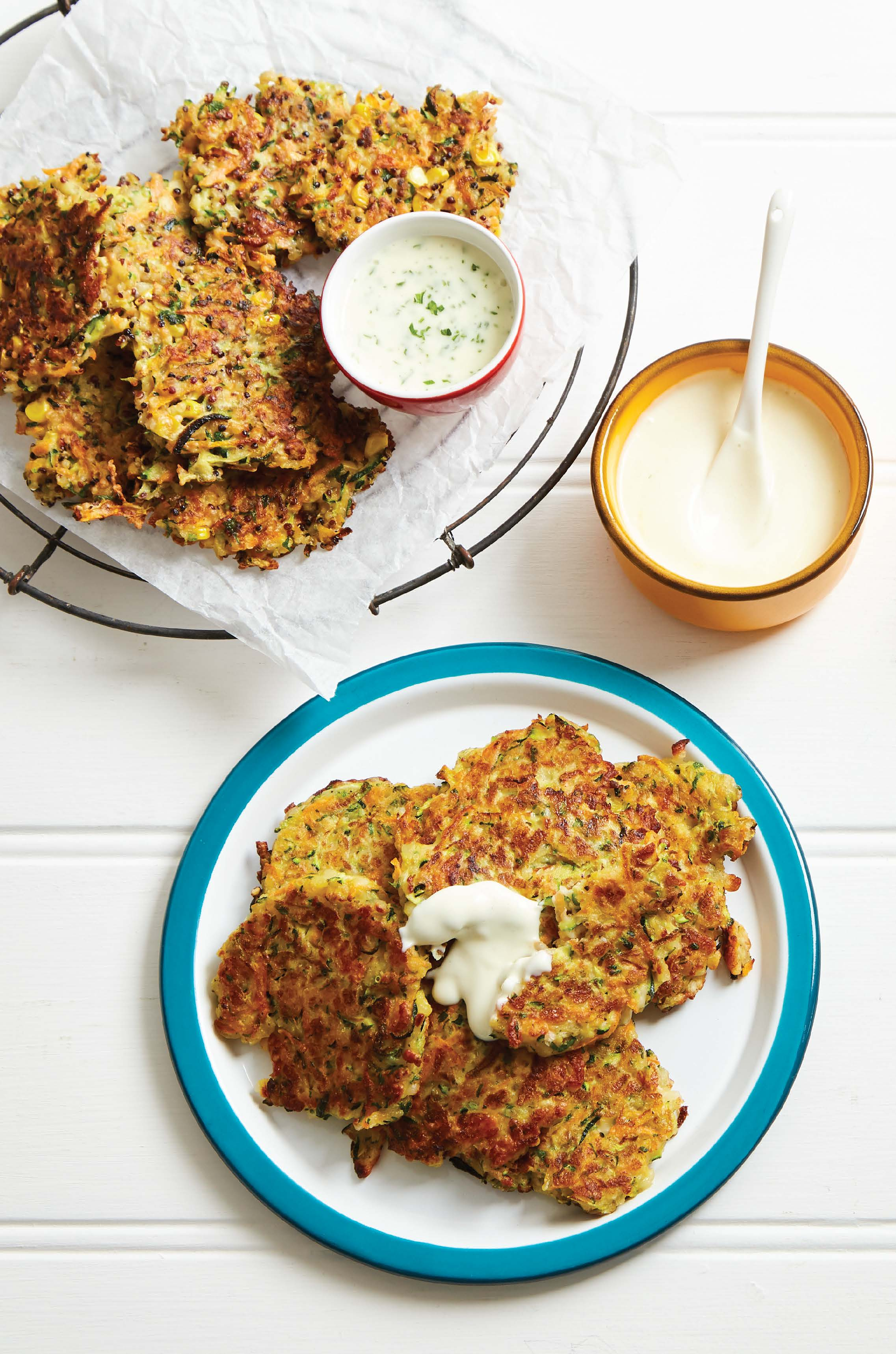Colourful vegetable and haloumi fritters with lemon and garlic mayonnaise