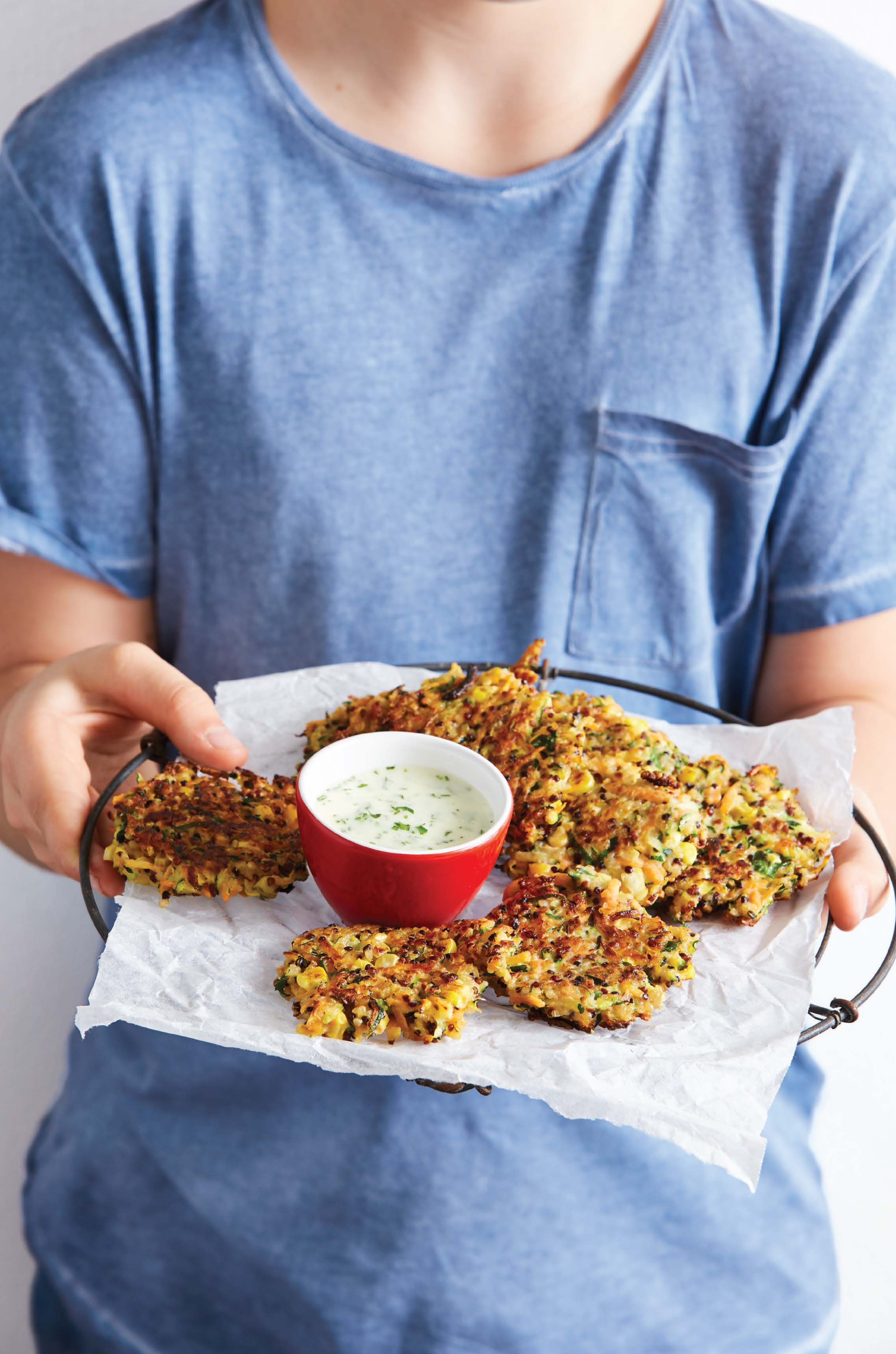 Crunchy quinoa and vegetable fritters with lemon and herb mayonnaise