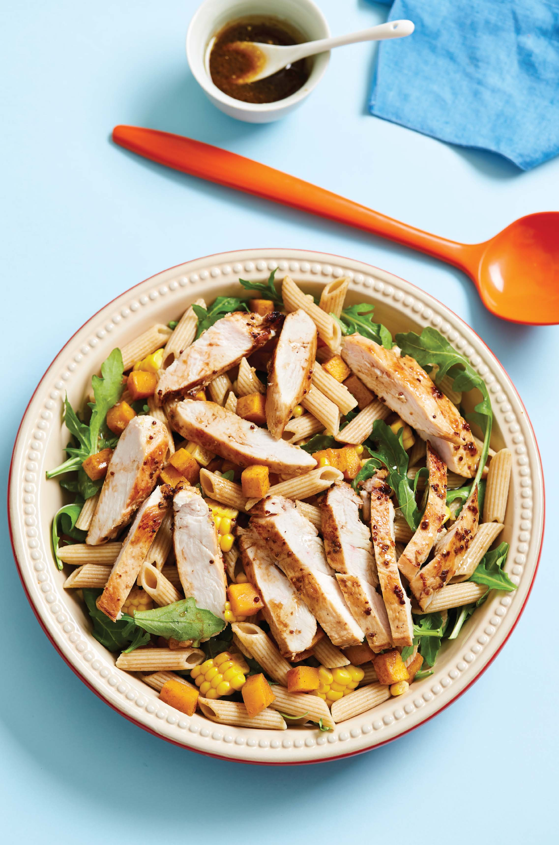 Maple-roasted pumpkin, chicken and pasta salad