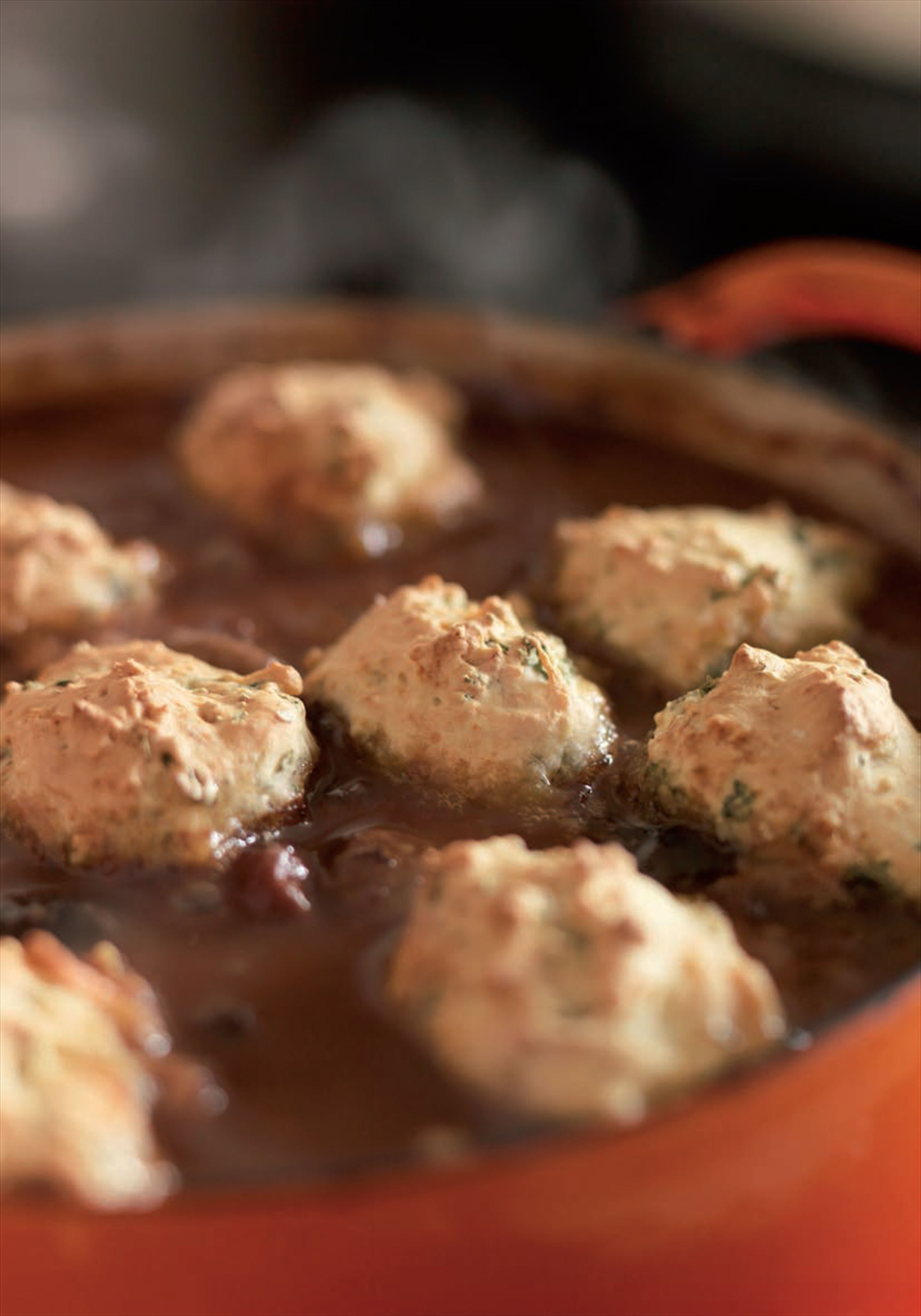 Venison casserole with parsley dumplings