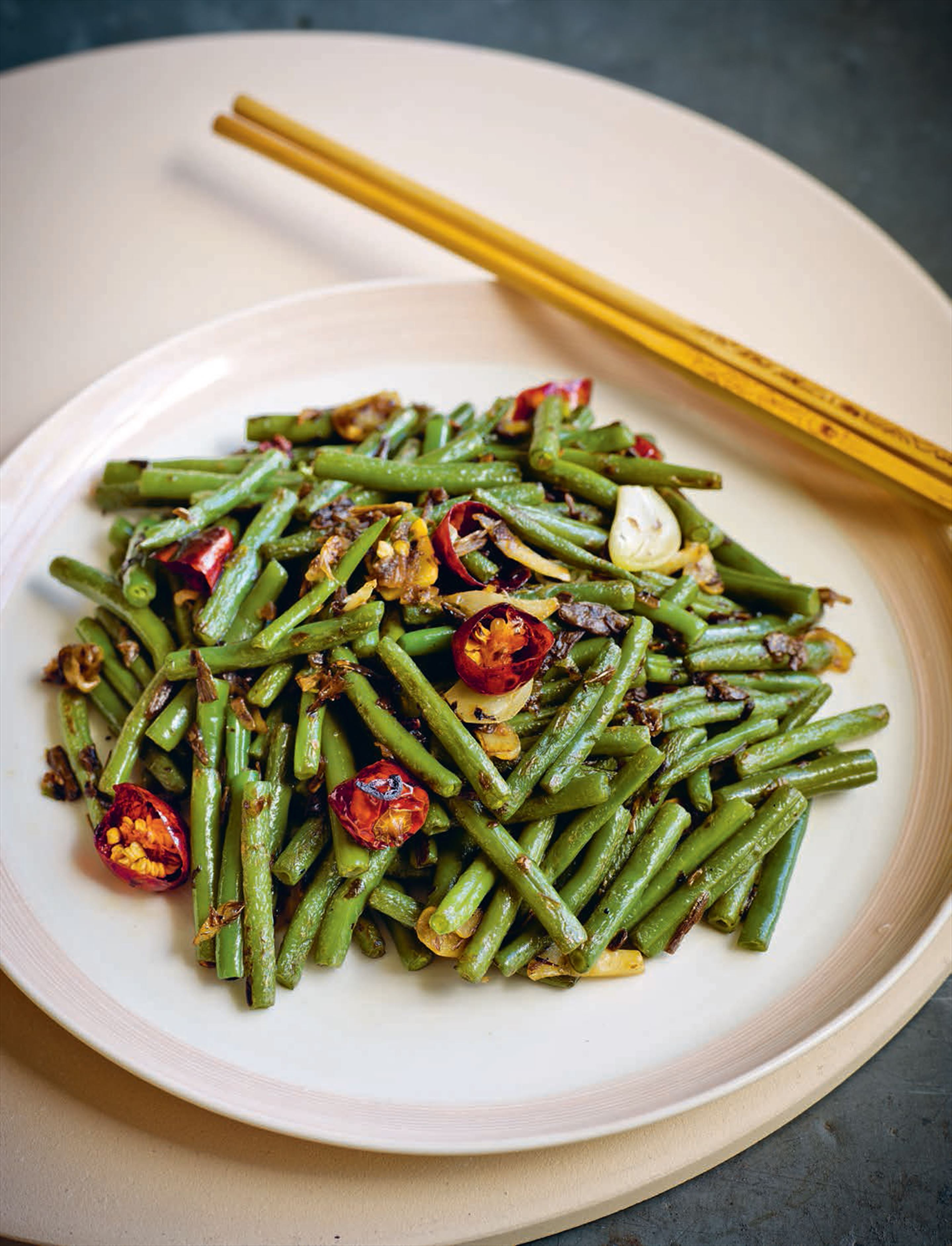 Sichuanese 'dry-fried' green beans (vegetarian version)