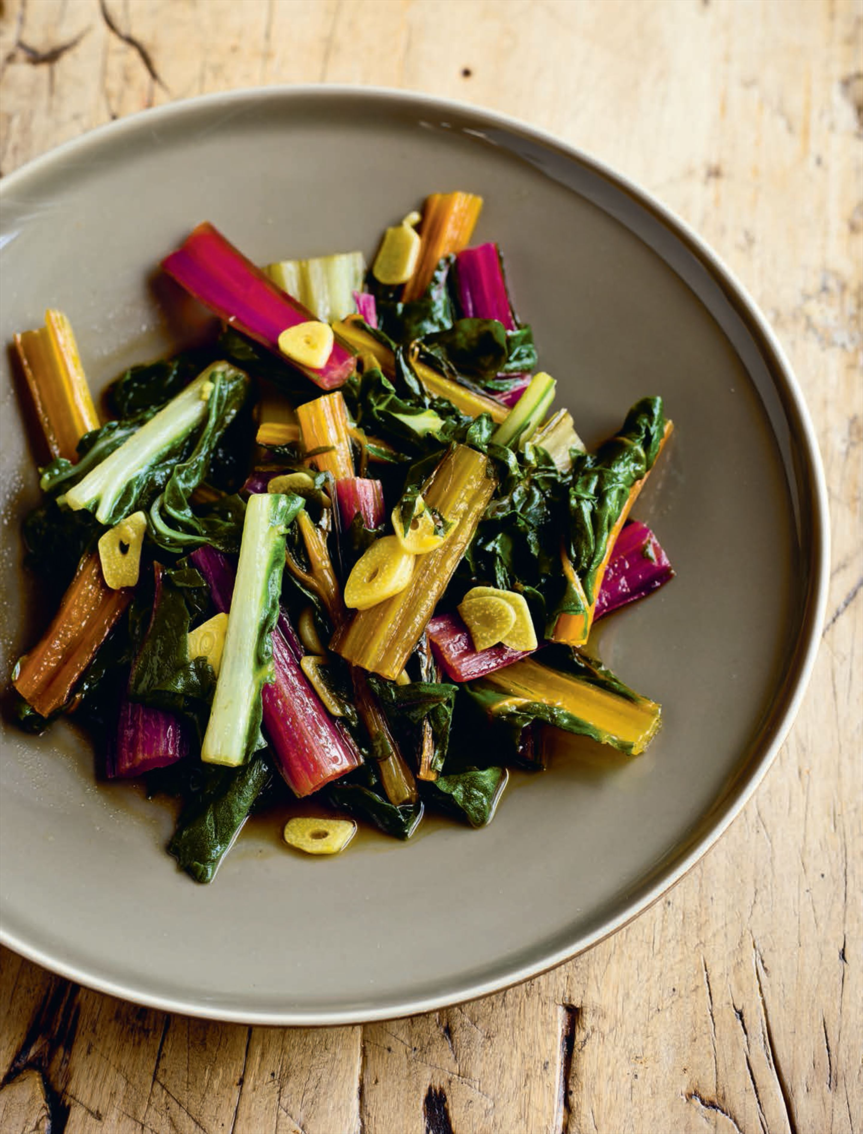 Smothered rainbow chard with garlic