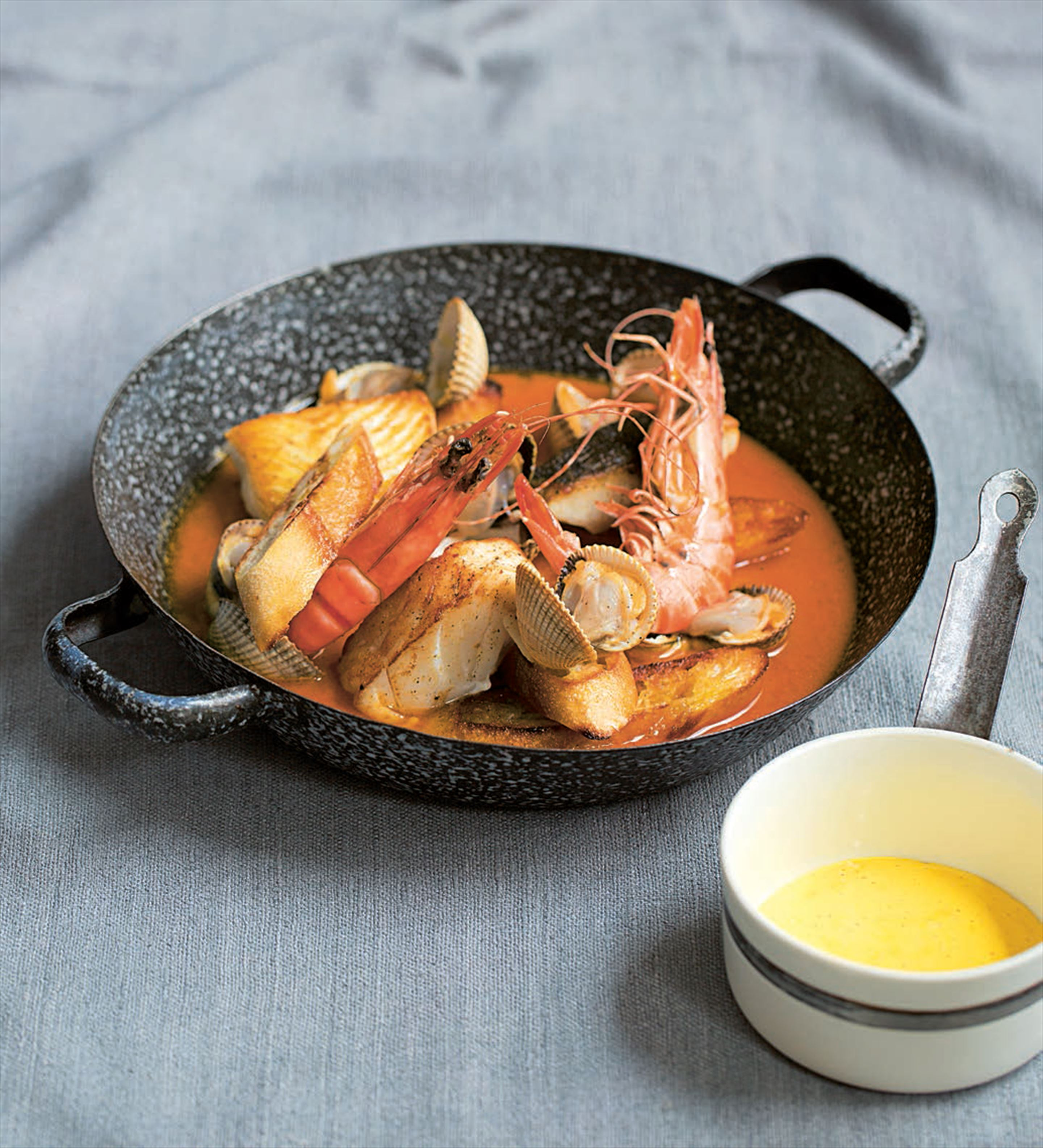 Cornish fish stew with garlic toast and aïoli
