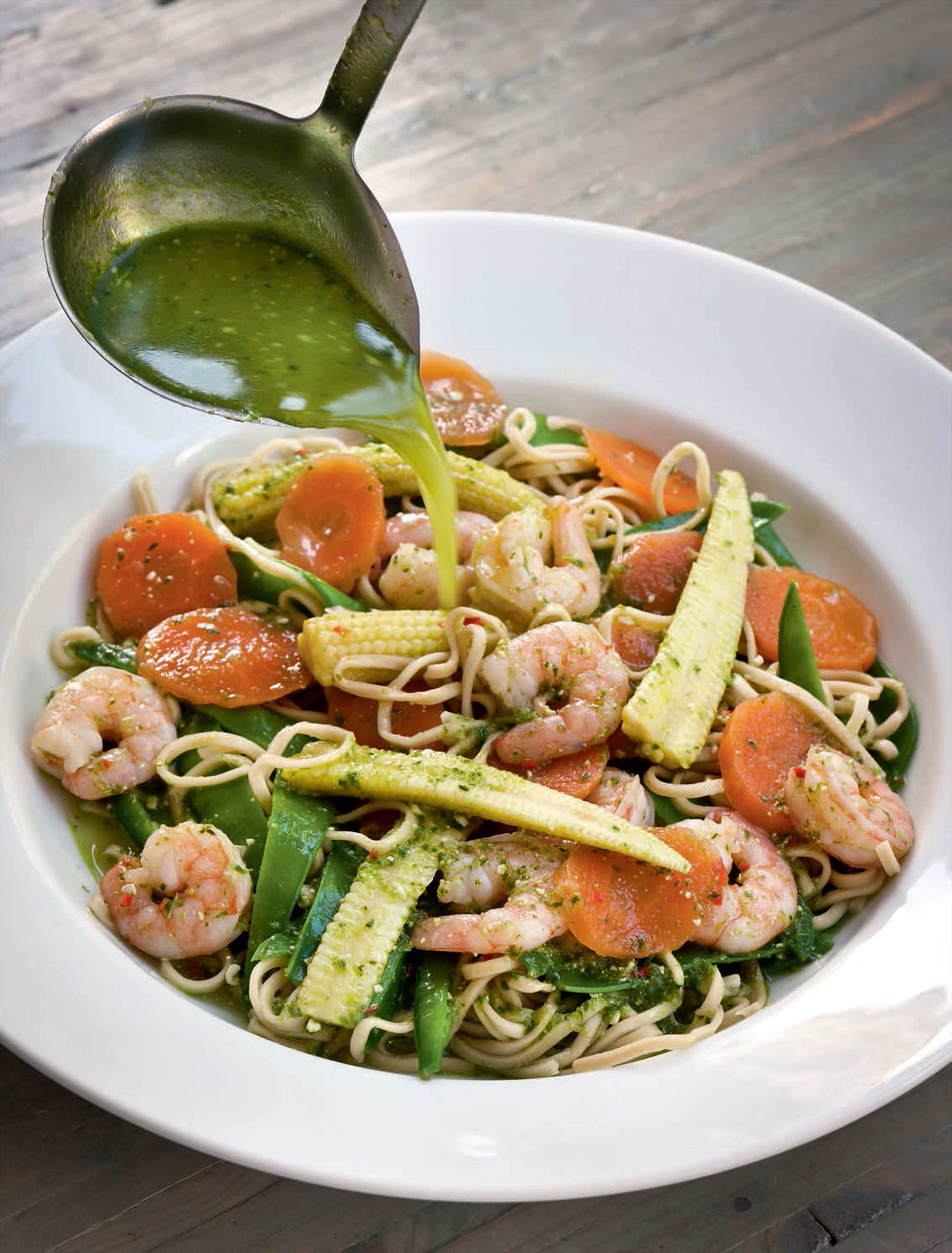 Prawn, carrot & noodle broth with ginger & pesto