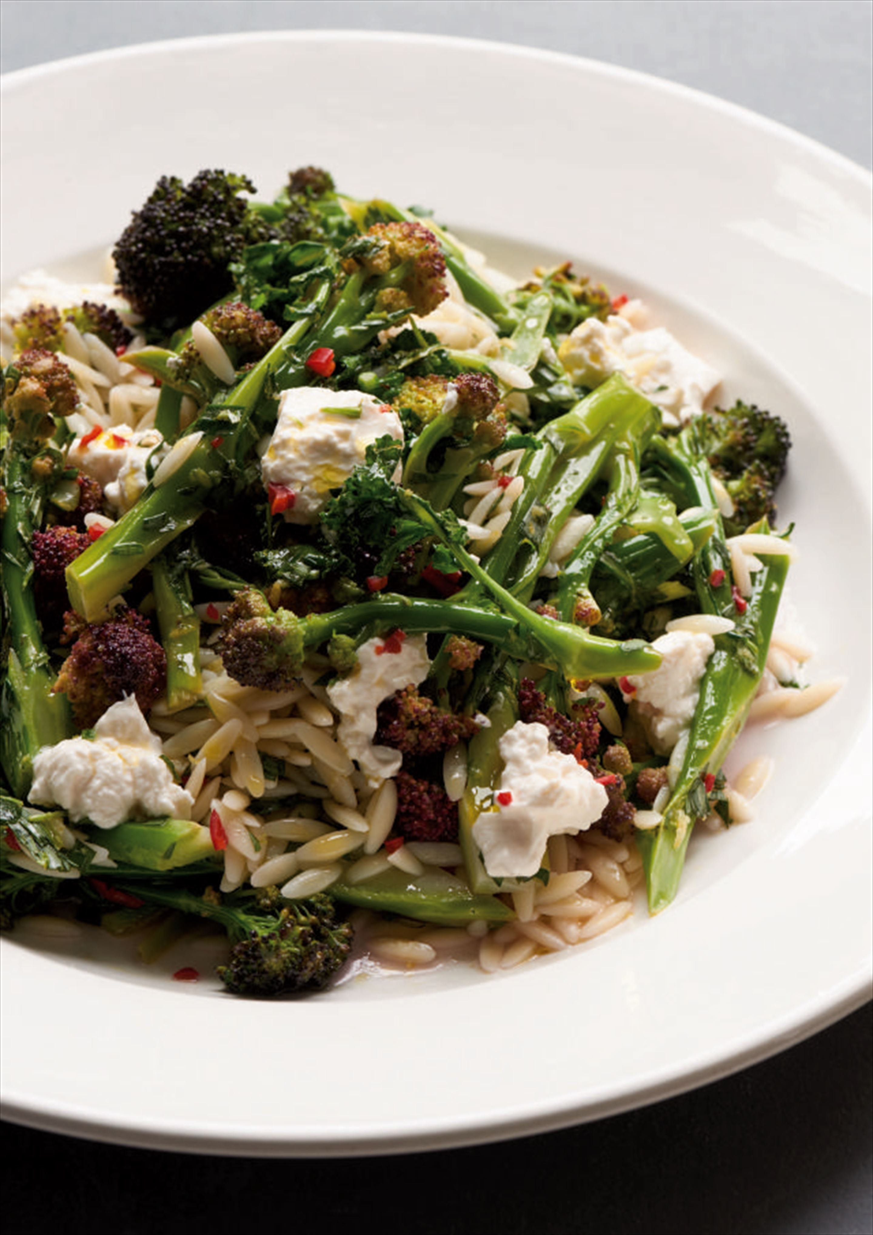 Purple sprouting broccoli with ricotta and orzo